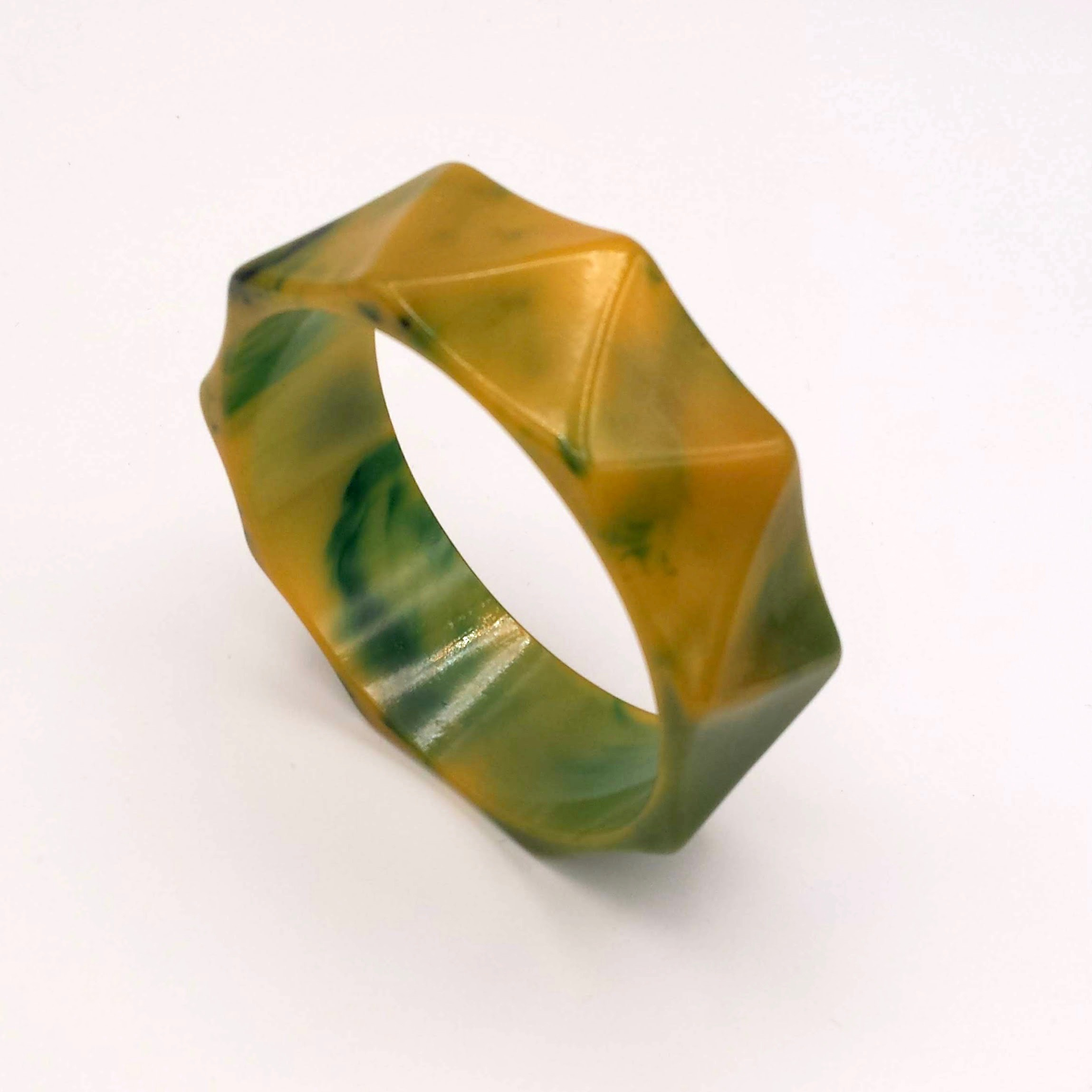 Green and Yellow Bakelite Bangle