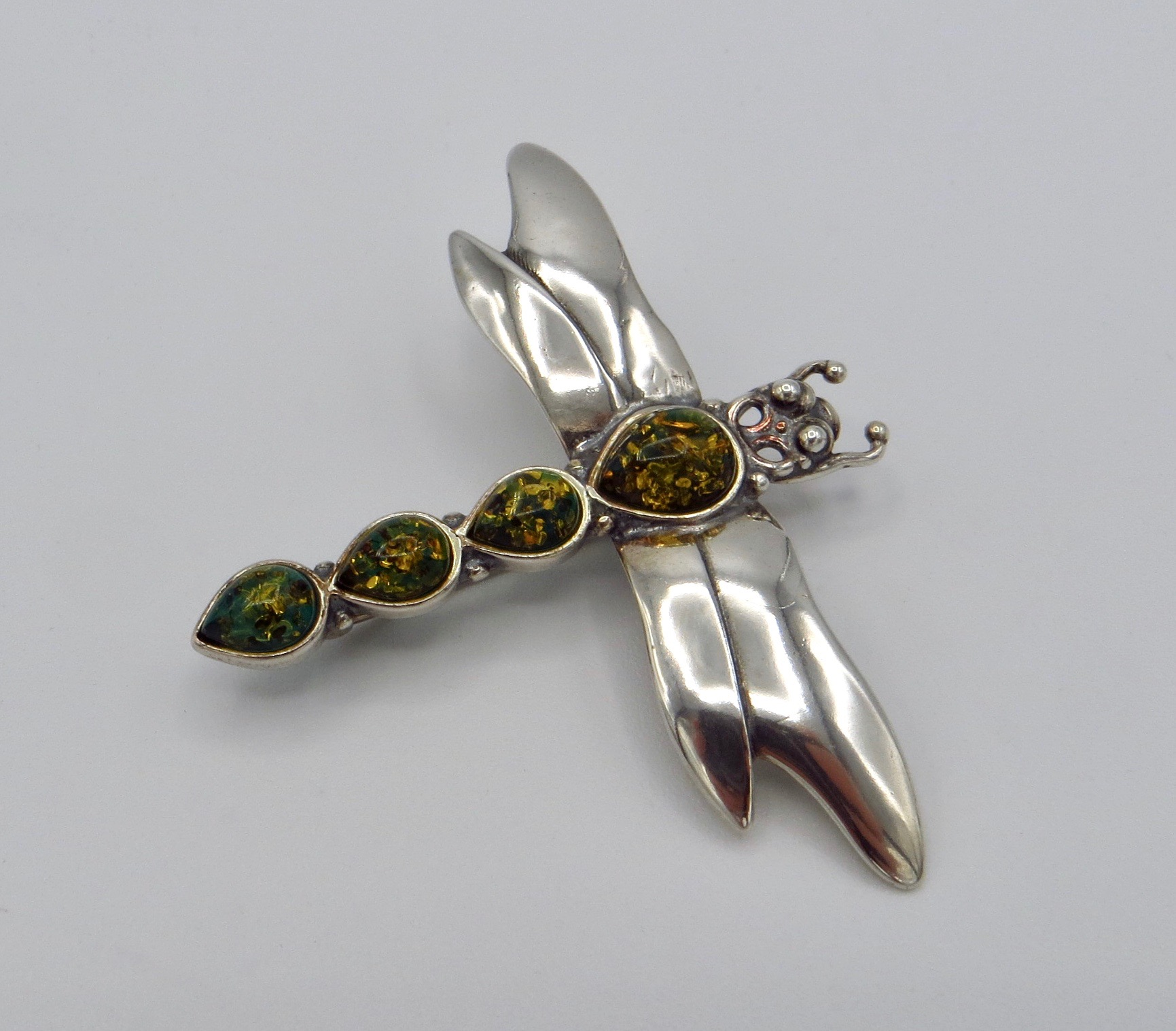 Sterling Silver and Amber Dragonfly Brooch