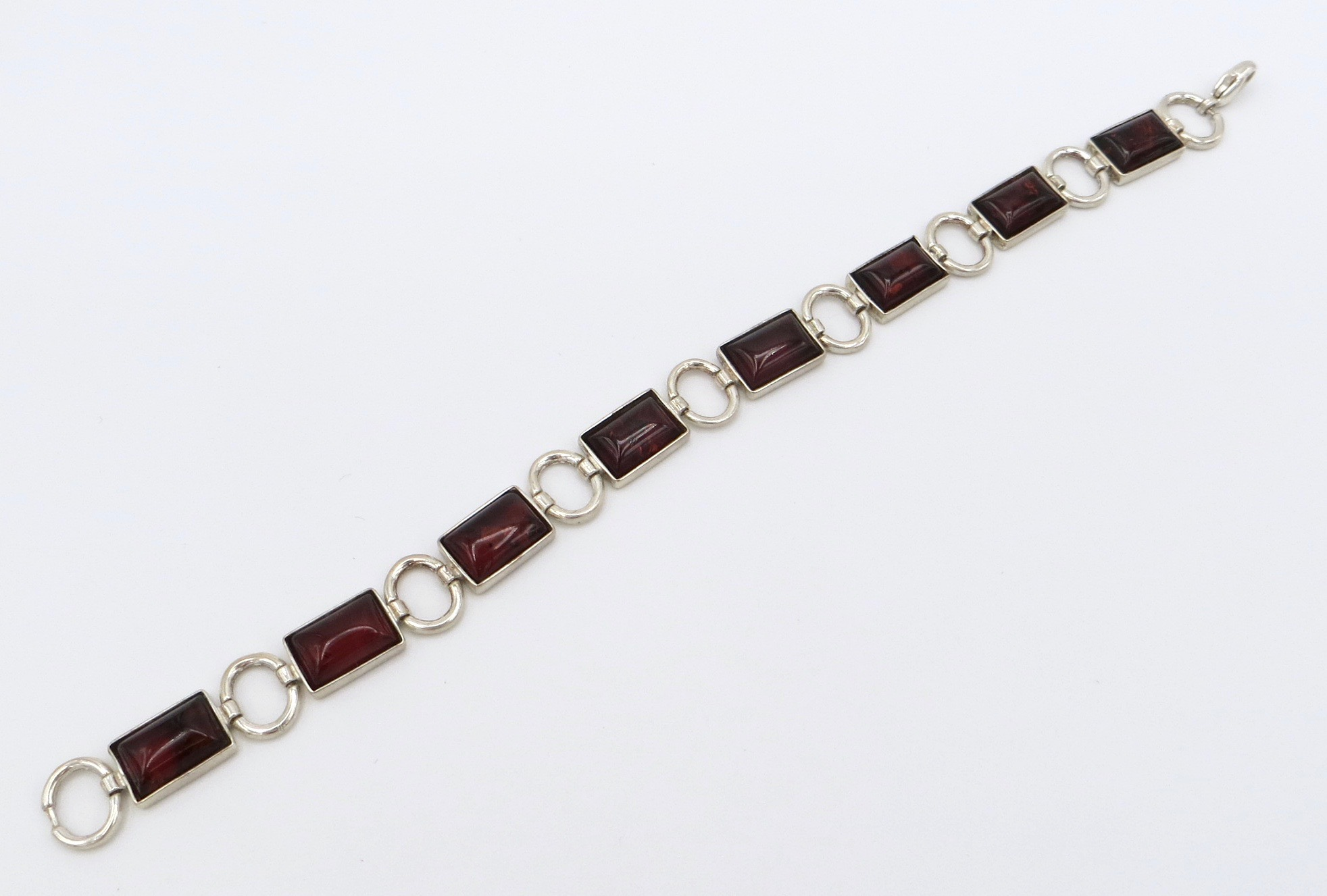 Sterling Silver and Cherry Amber Bracelet