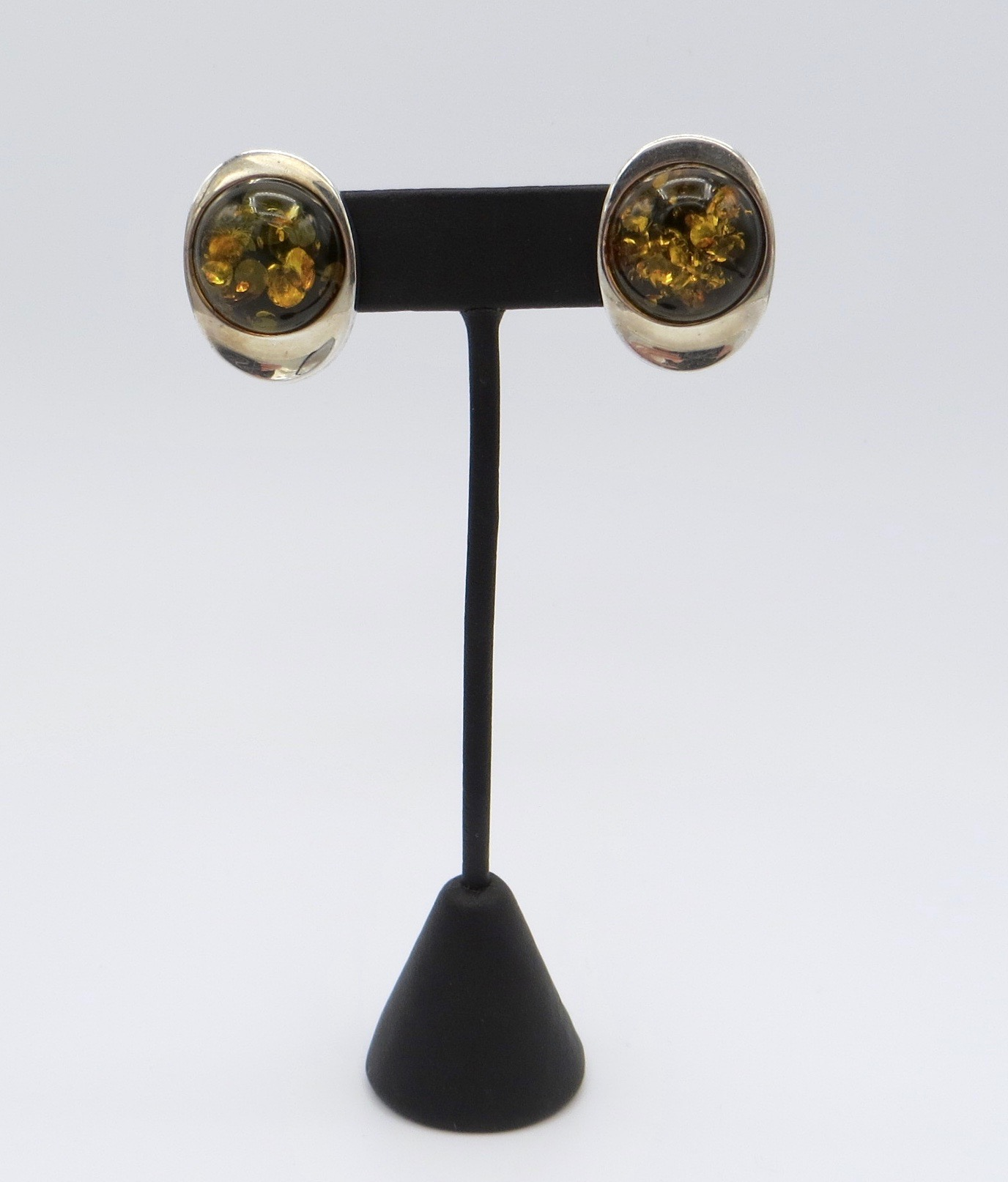 Silver and Amber Clip-On Earrings