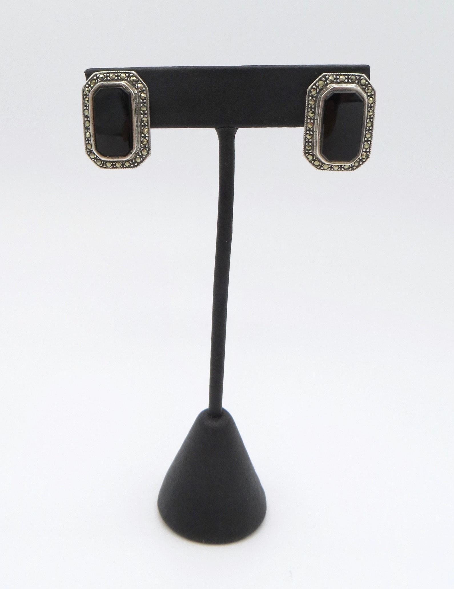 Silver Onyx Marcasite Earrings