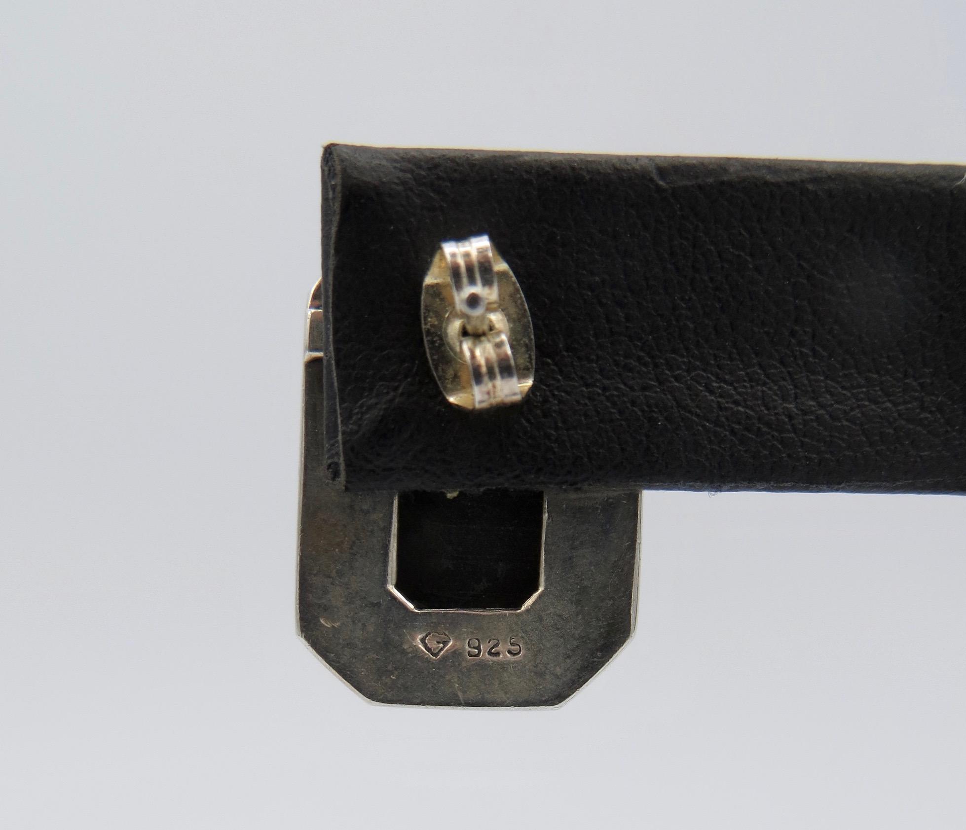 Silver Onyx Marcasite Earrings