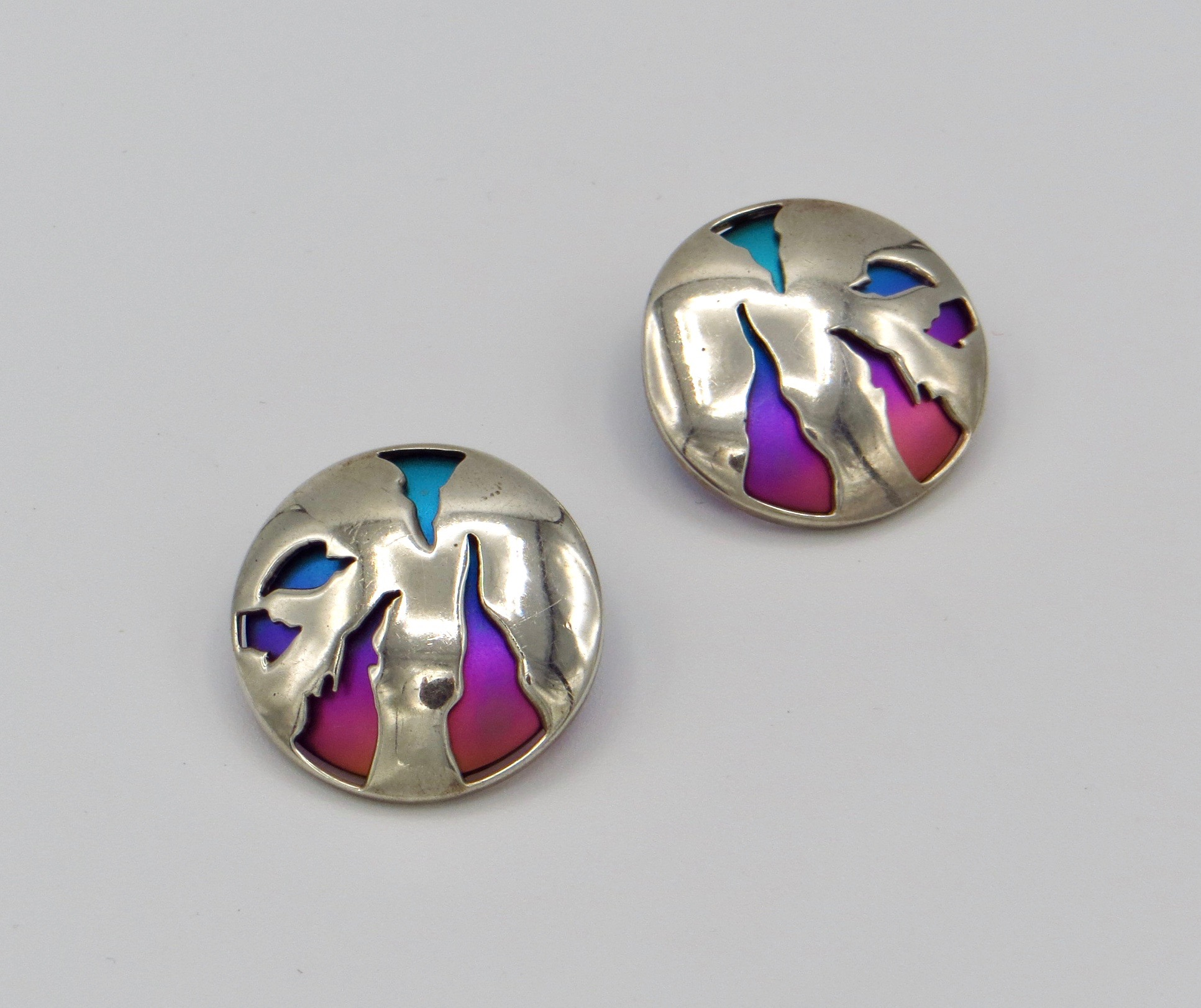 Silver Multichrome Earrings