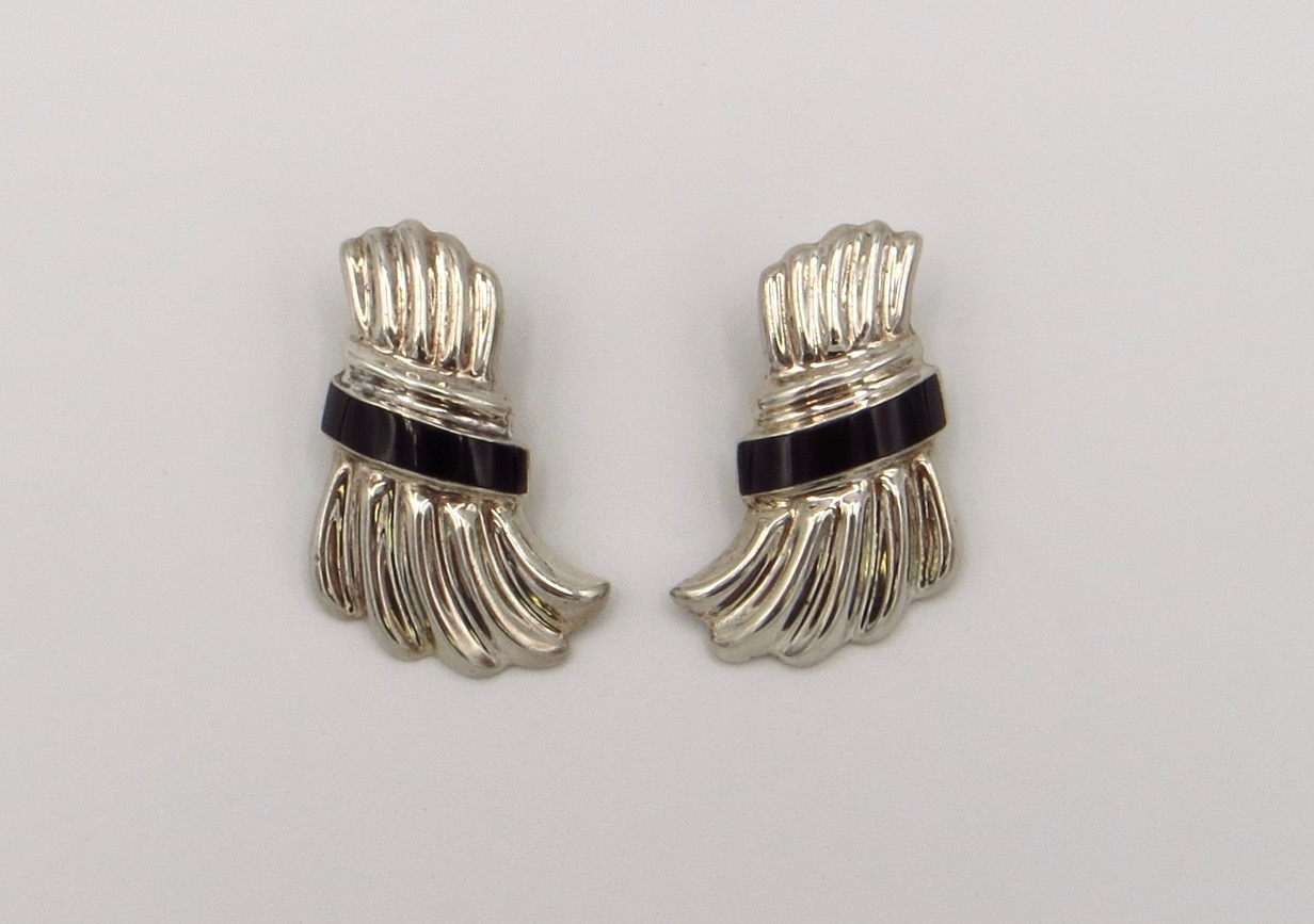 Sterling Onyx Clip-On Earrings