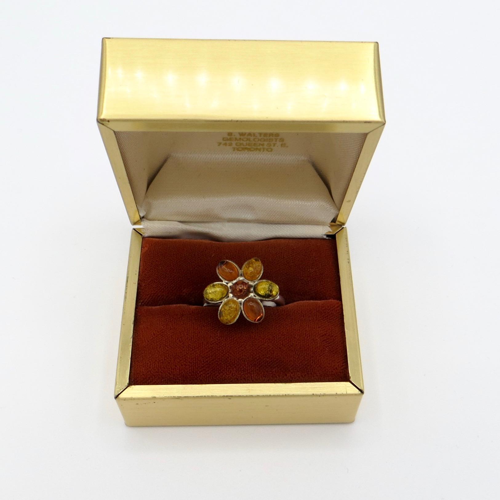 Amber Flower Ring