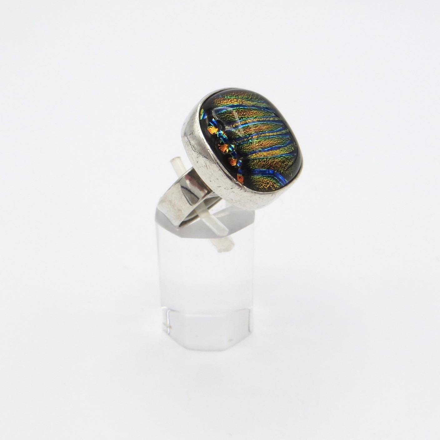Silver and Murano Glass Ring