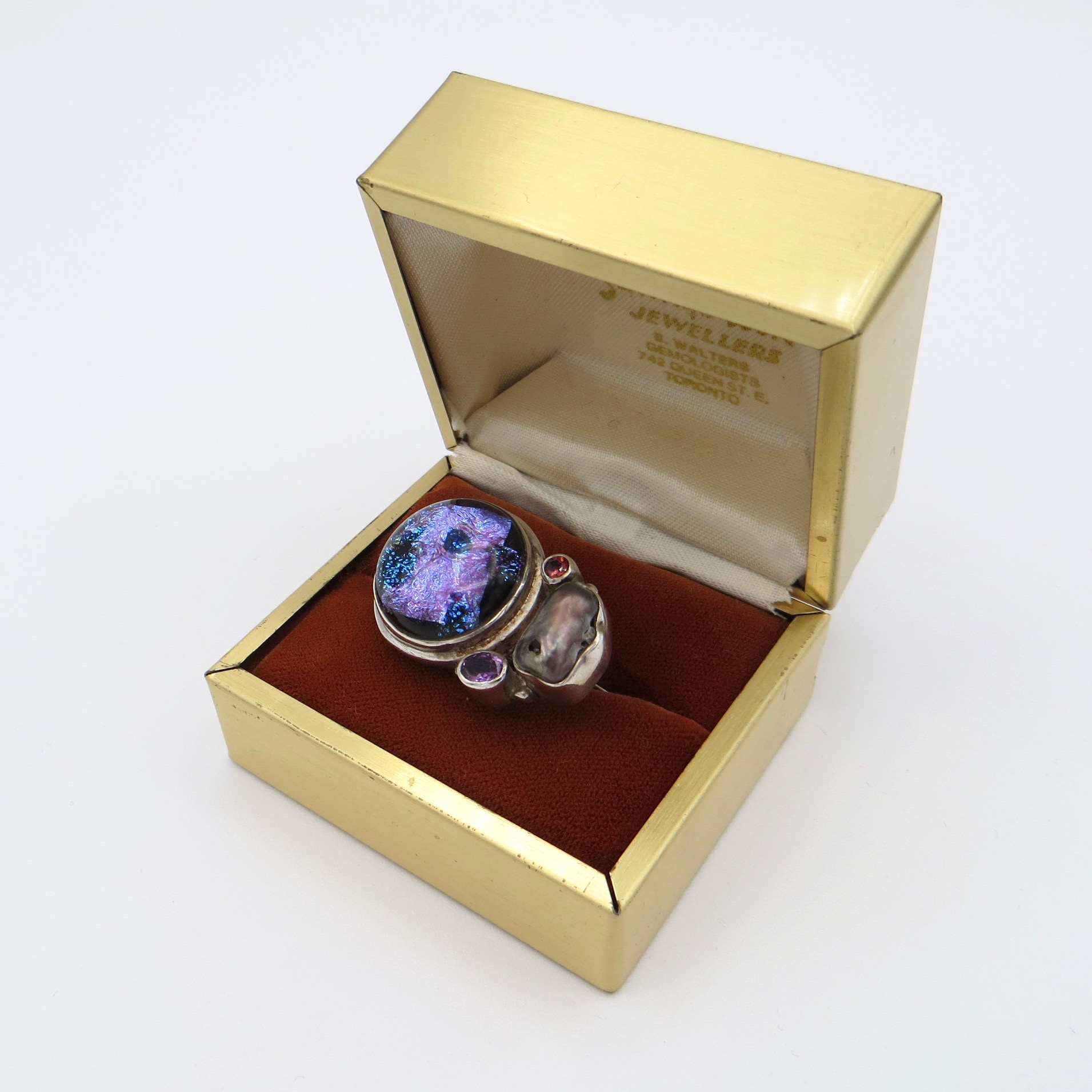Silver Ring with Glass, Pearl and Quartz