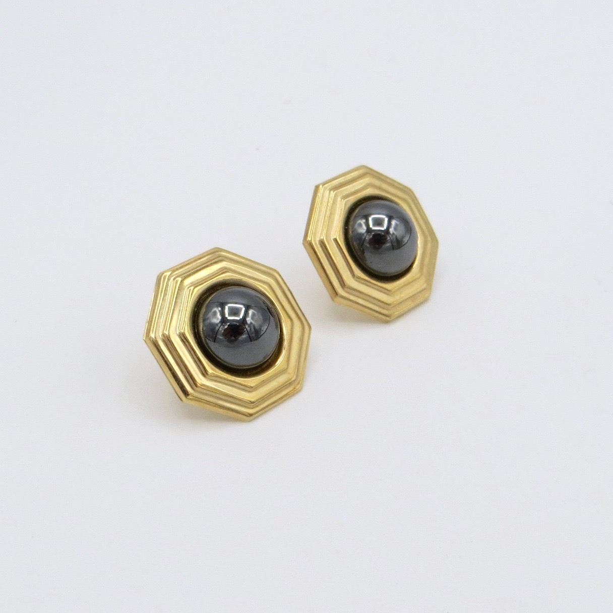 Gold & Hematite Earrings