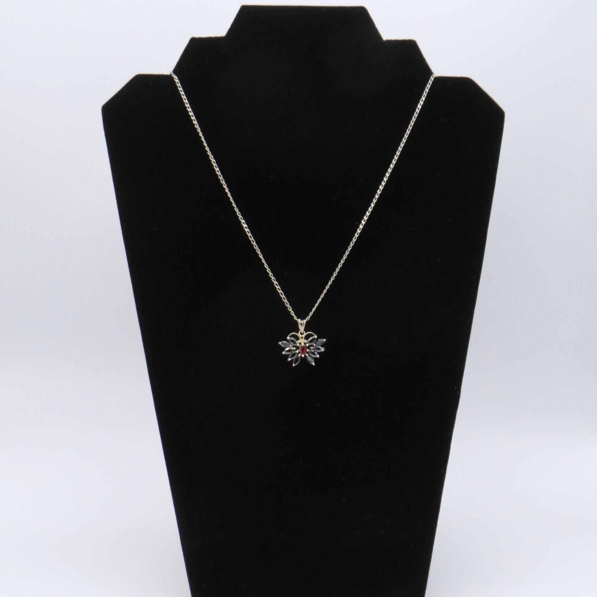 Sapphire & Garnet Butterfly Pendant