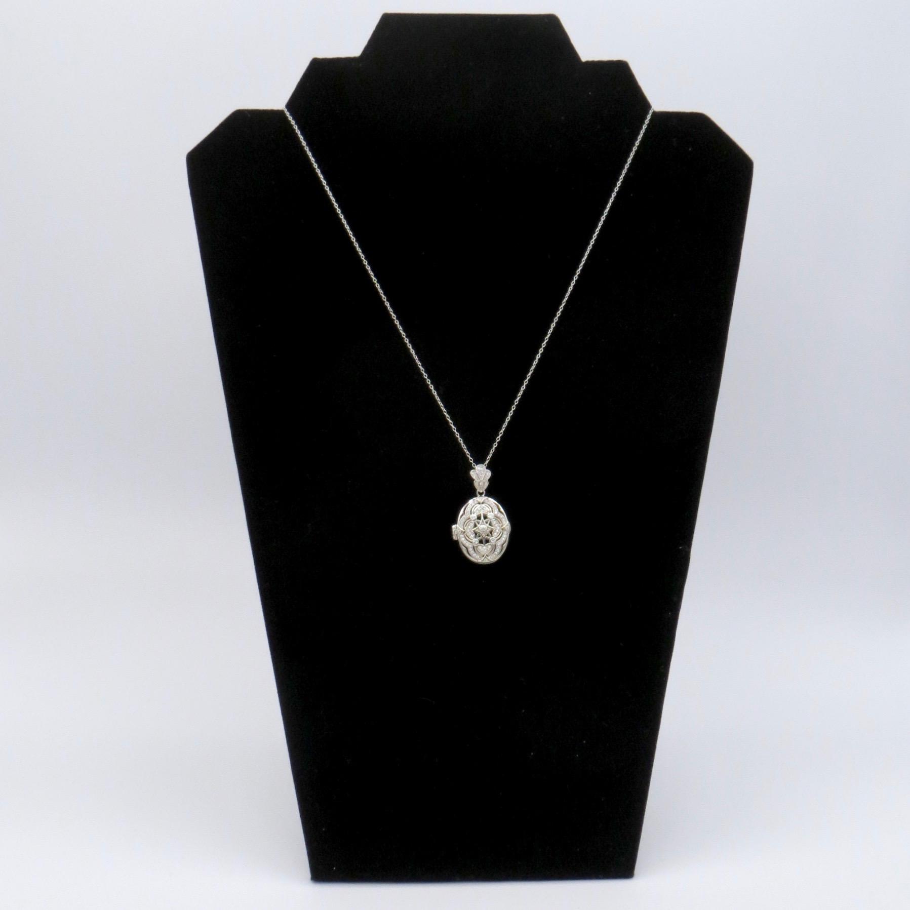 Silver & Crystal Filigree Locket