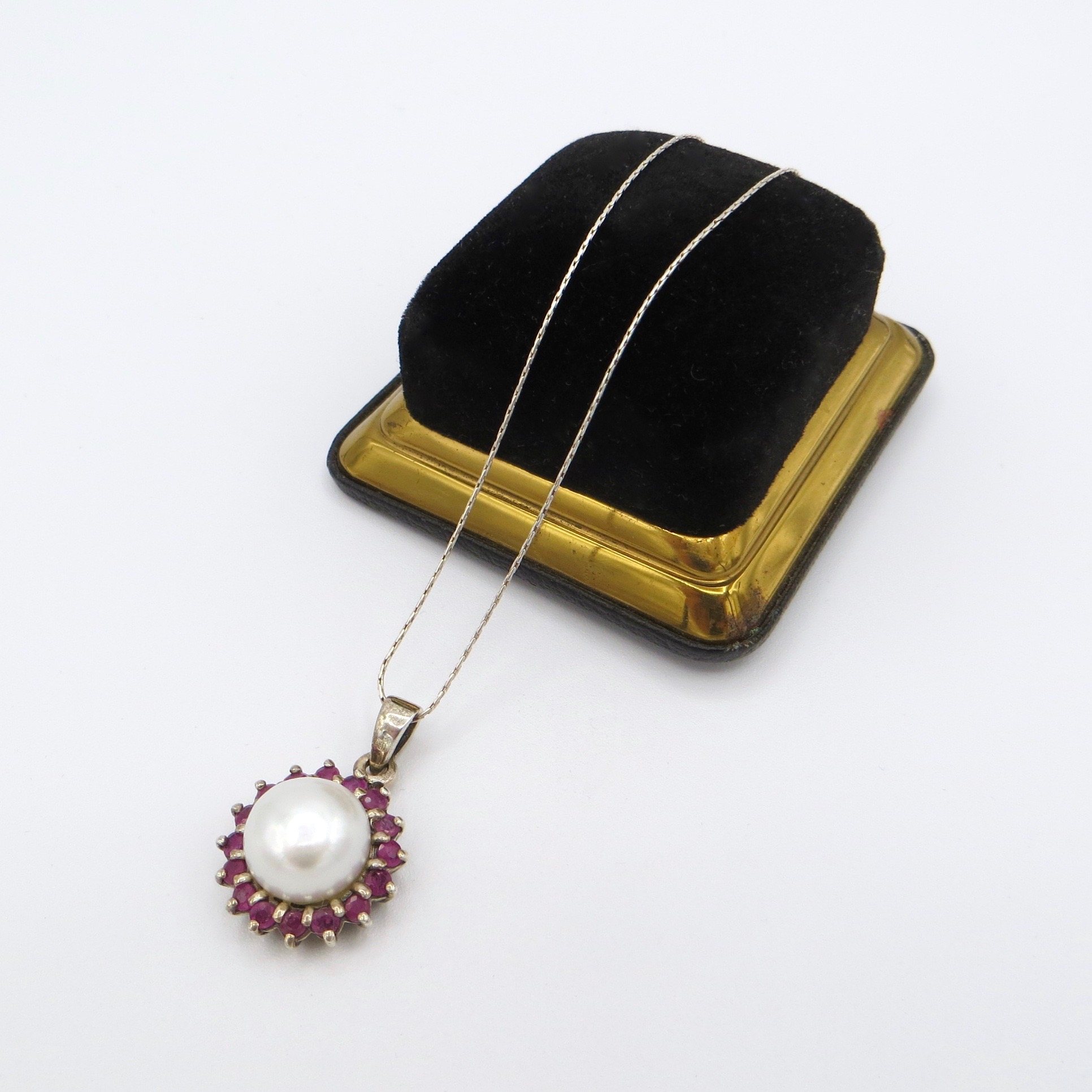 Silver, Mabe Pearl & Ruby Necklace