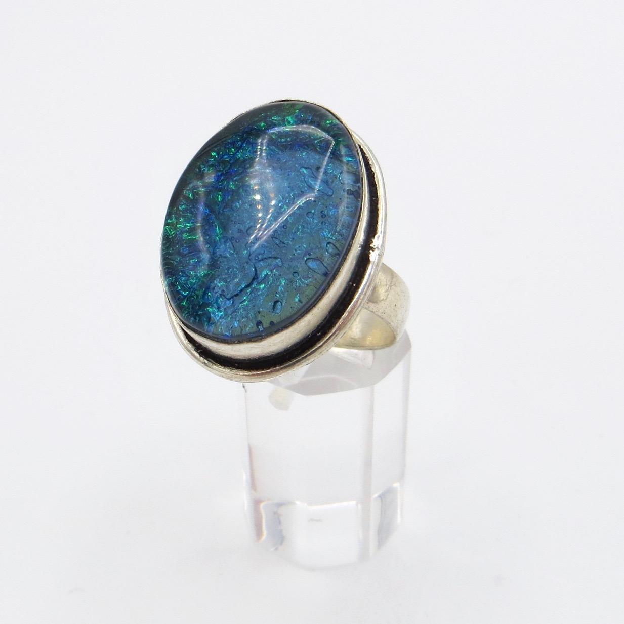 Silver & Murano Glass Ring