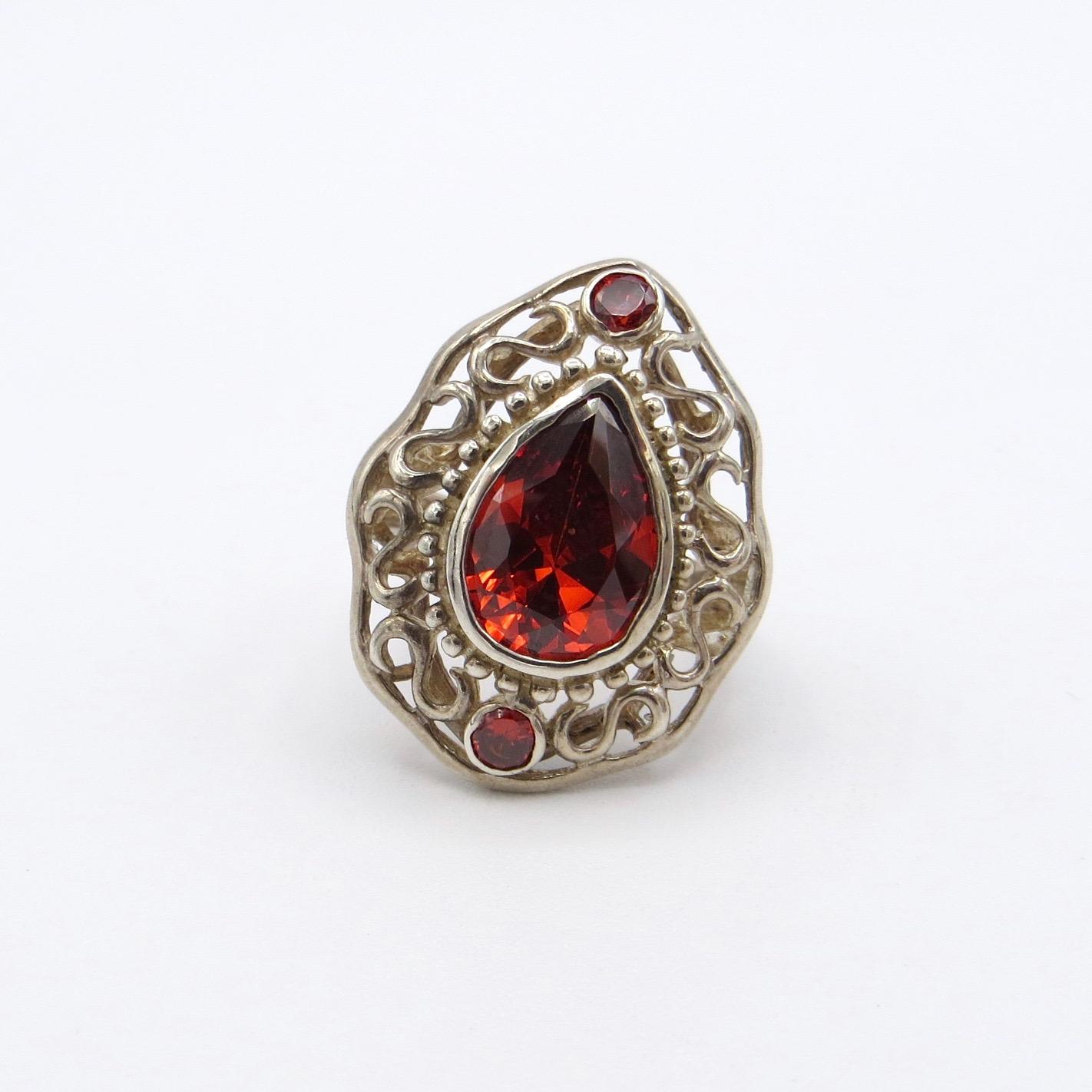 Silver & Garnet Ring