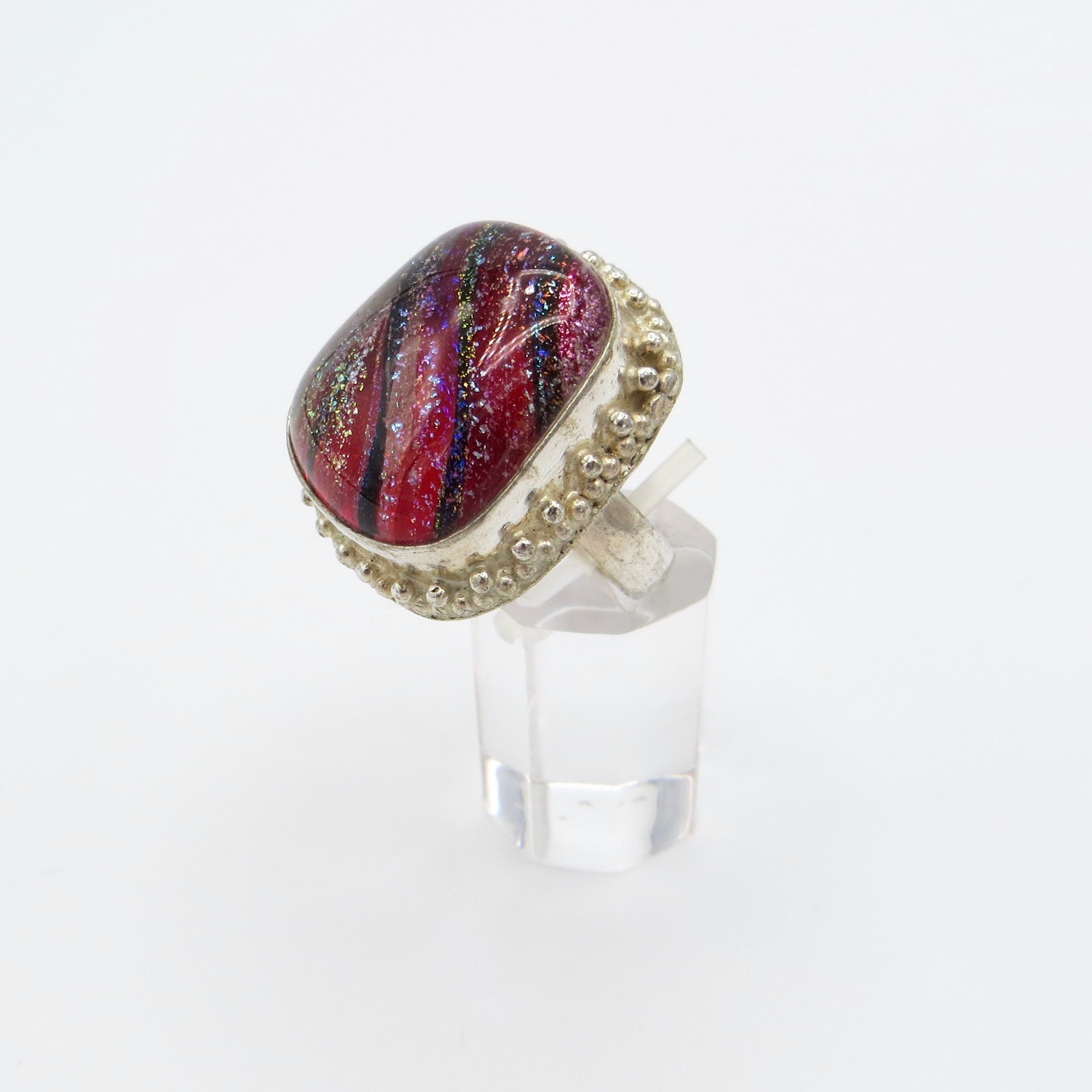 Silver & Murano Glass Ring