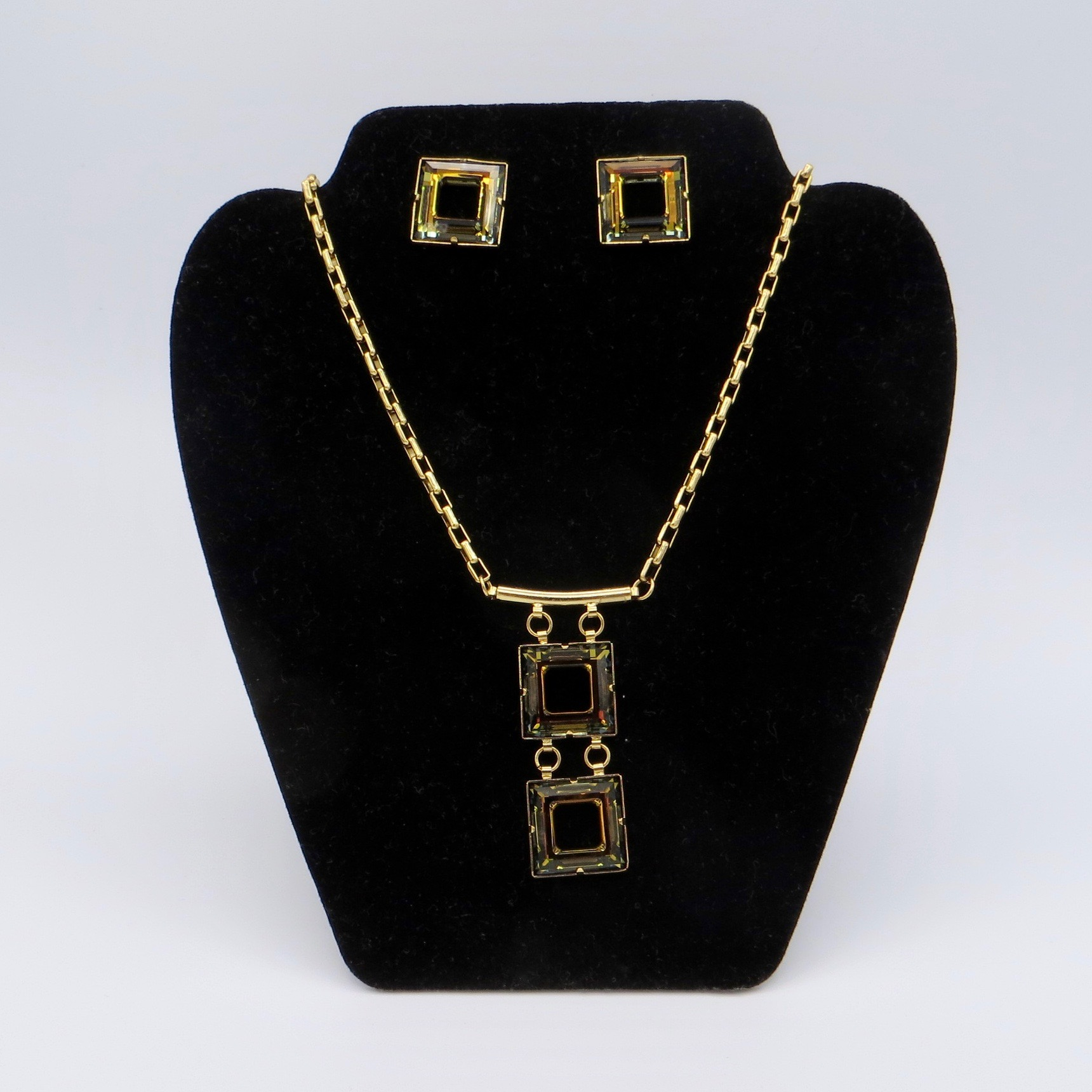 Black Czech Necklace & Earrings Set