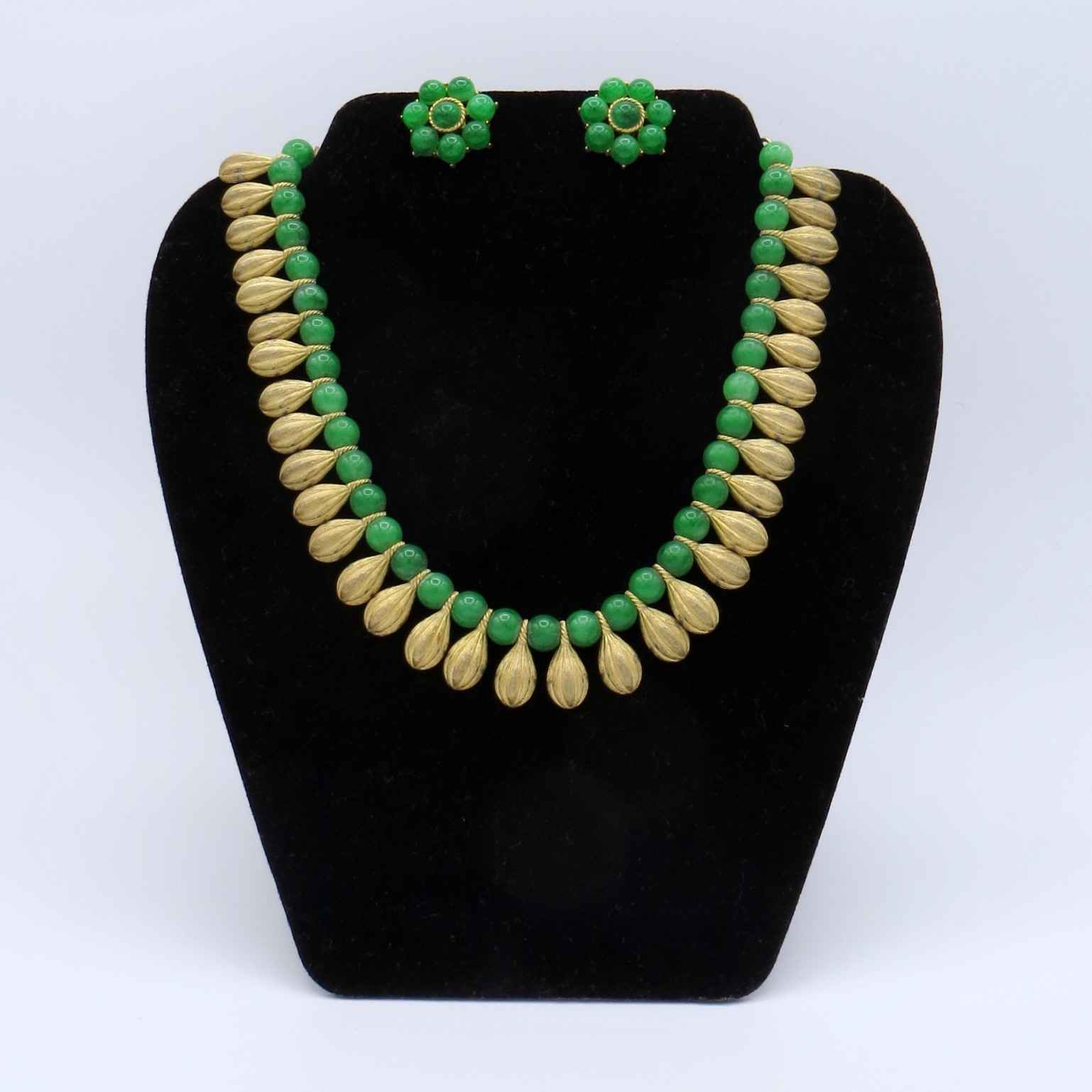 Green Trifari Necklace & Clip-On Earrings Set