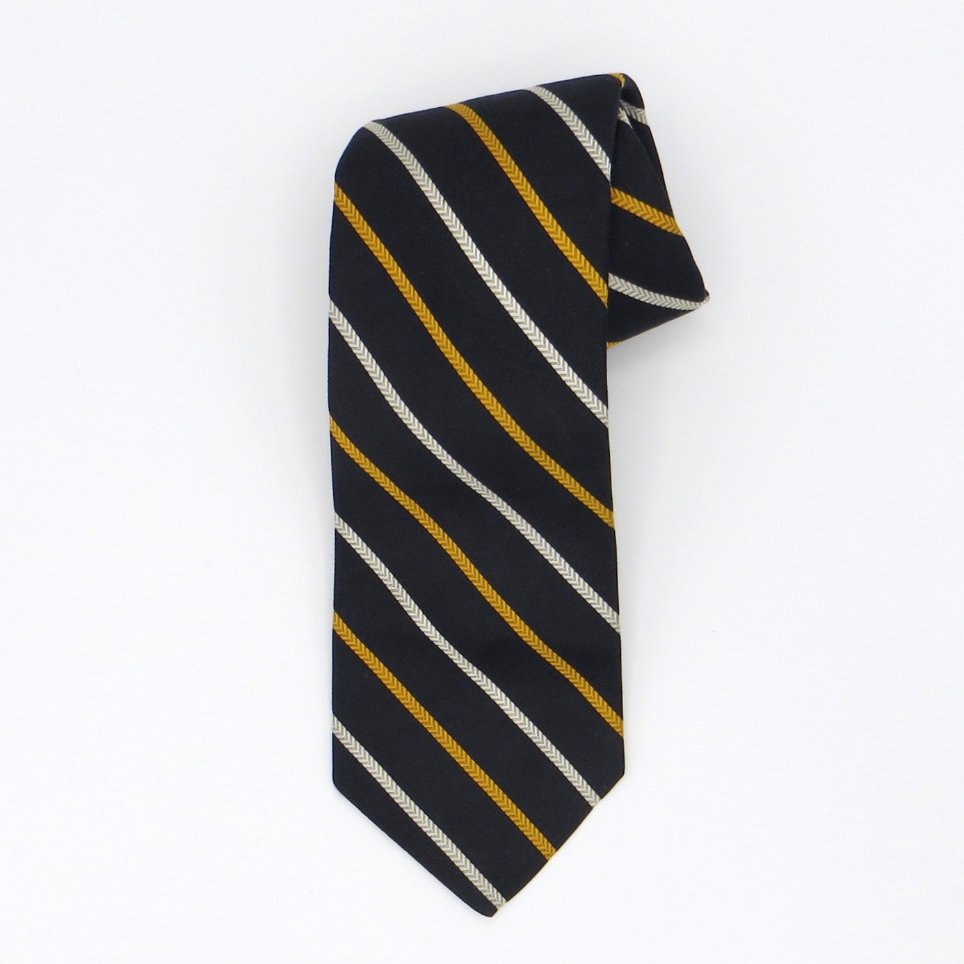 Yellow, White & Navy Striped Liberty Tie