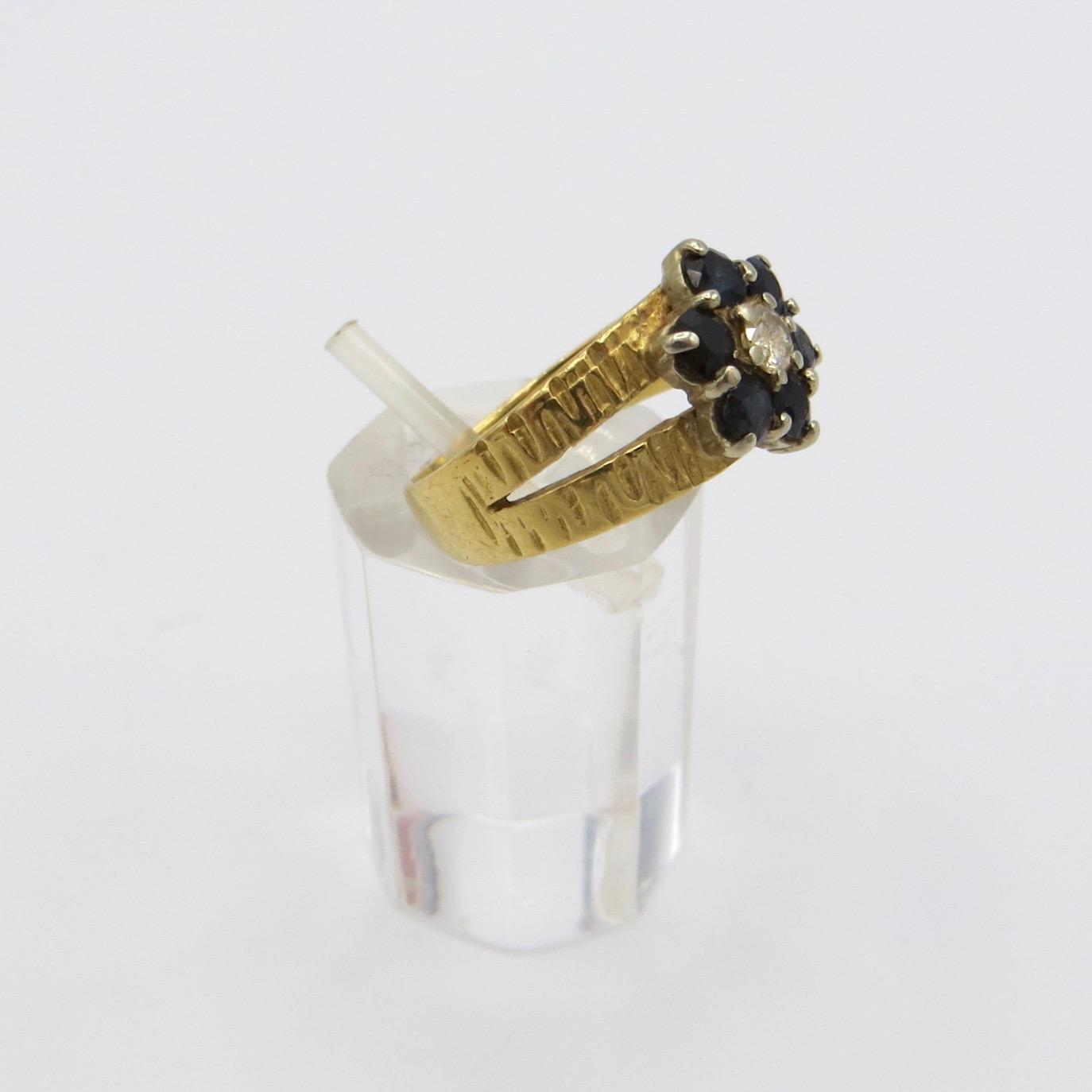 Sapphire & Diamond Floral Ring