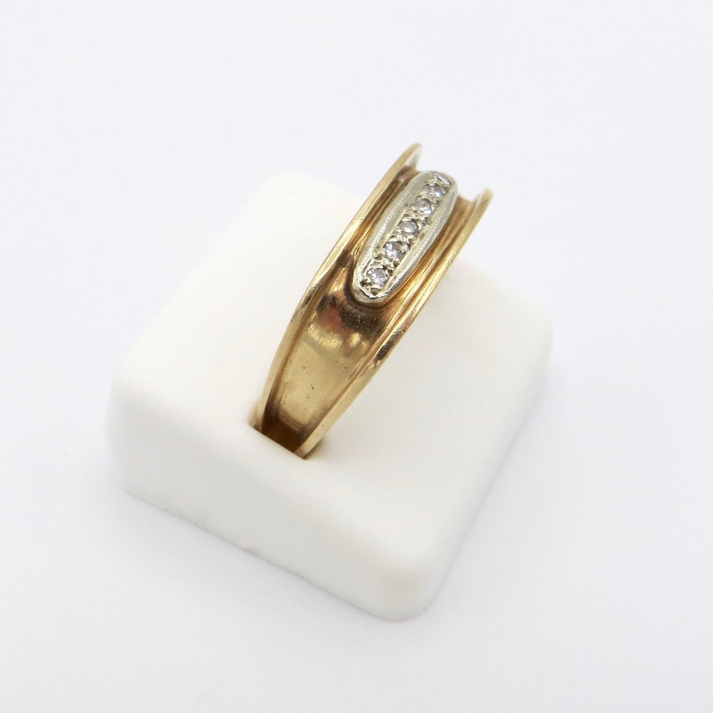 Square 14kt Gold & Diamond Ring