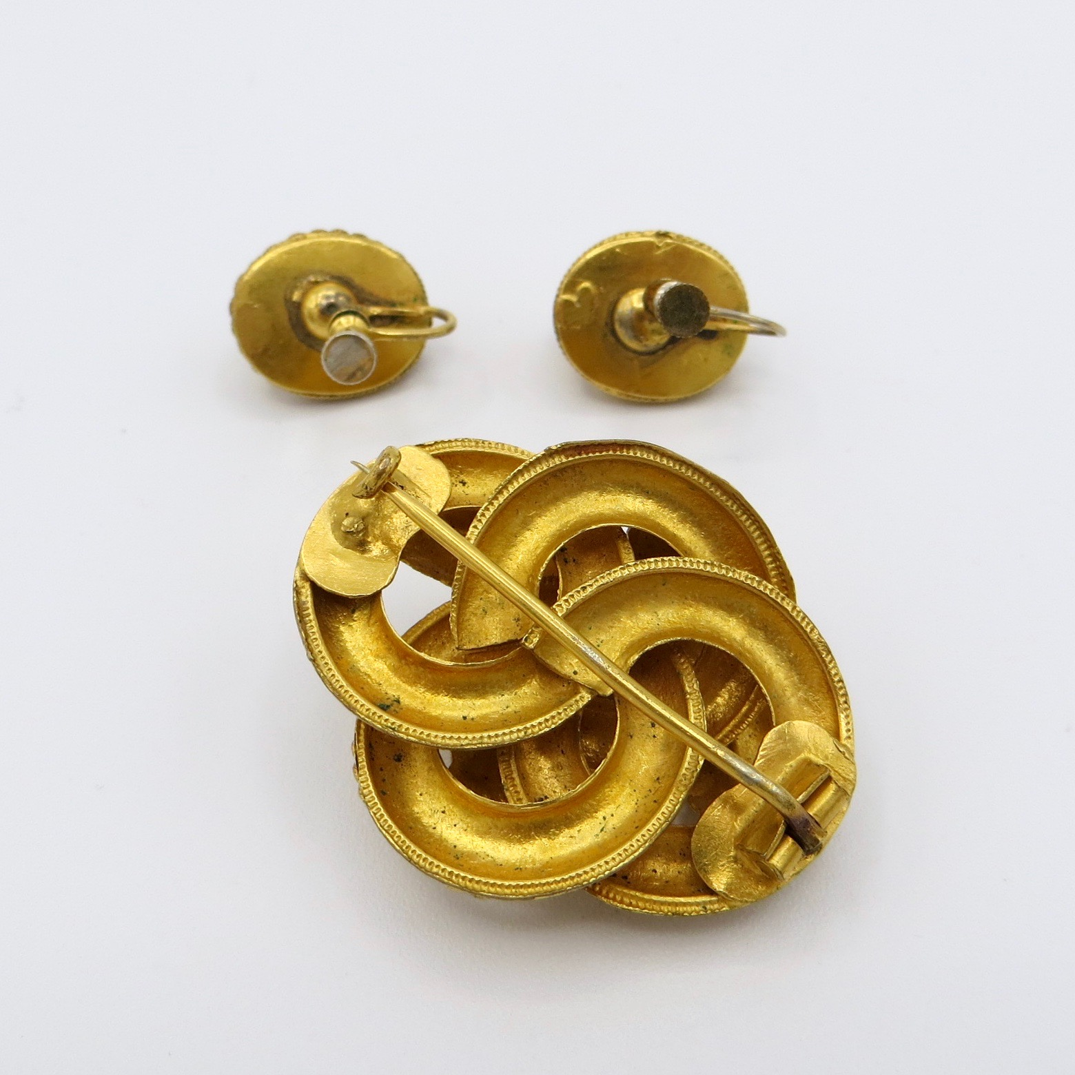 Victorian Gold Filled Brooch & Earrings Set