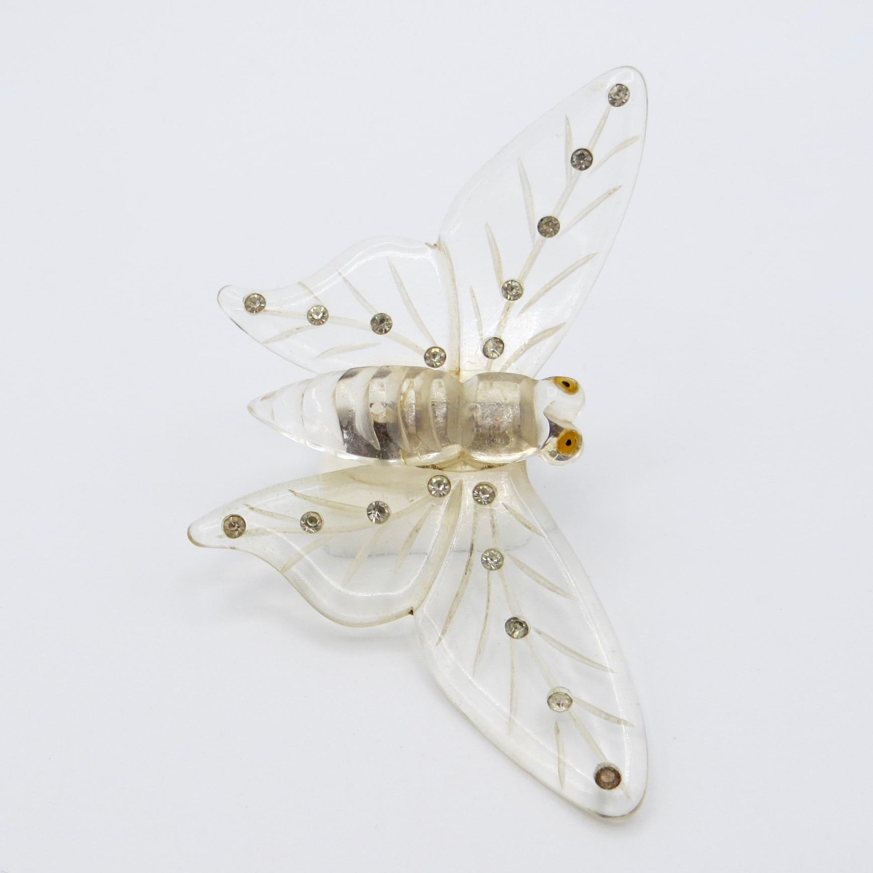 Lucite Moth Brooch