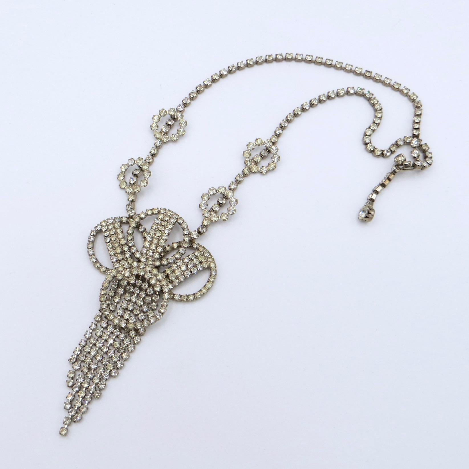 Rhinestone Waterfall Necklace