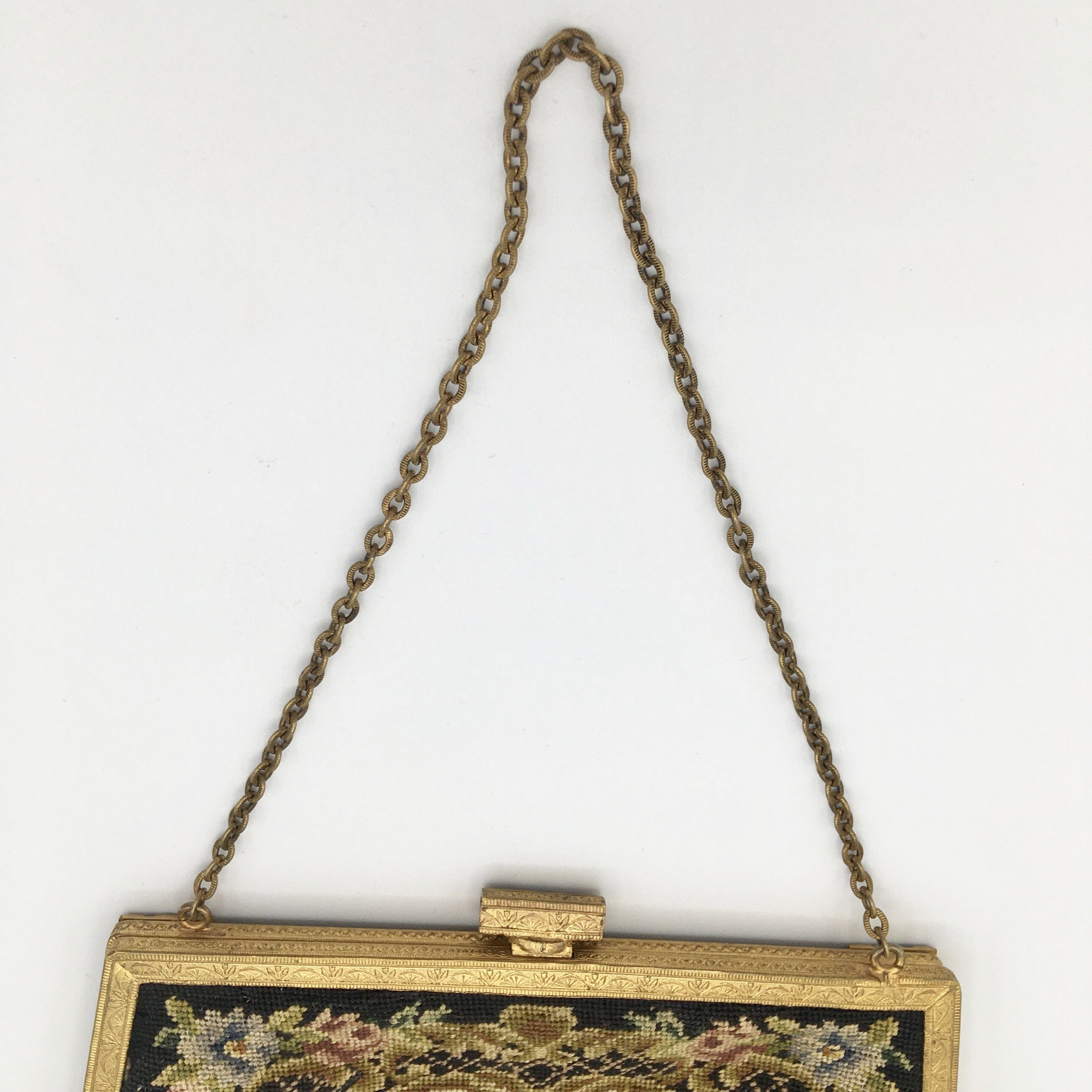 Gilt and Floral Needlepoint Purse