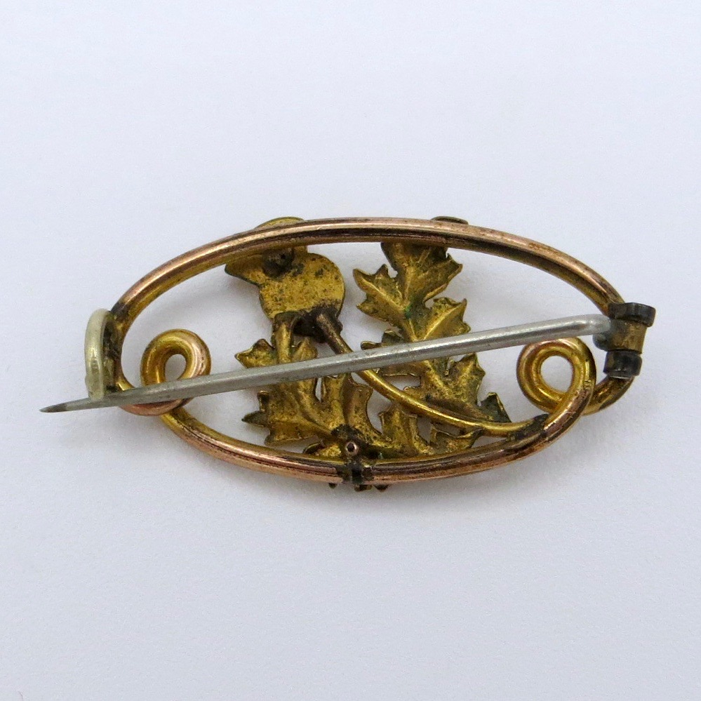 Gold-Filled Thistle Brooch
