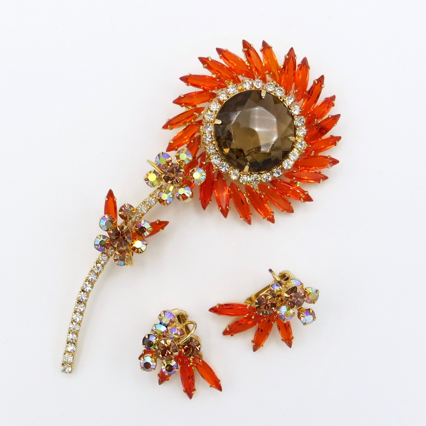 Floral Brooch & Clip-On Earring Set