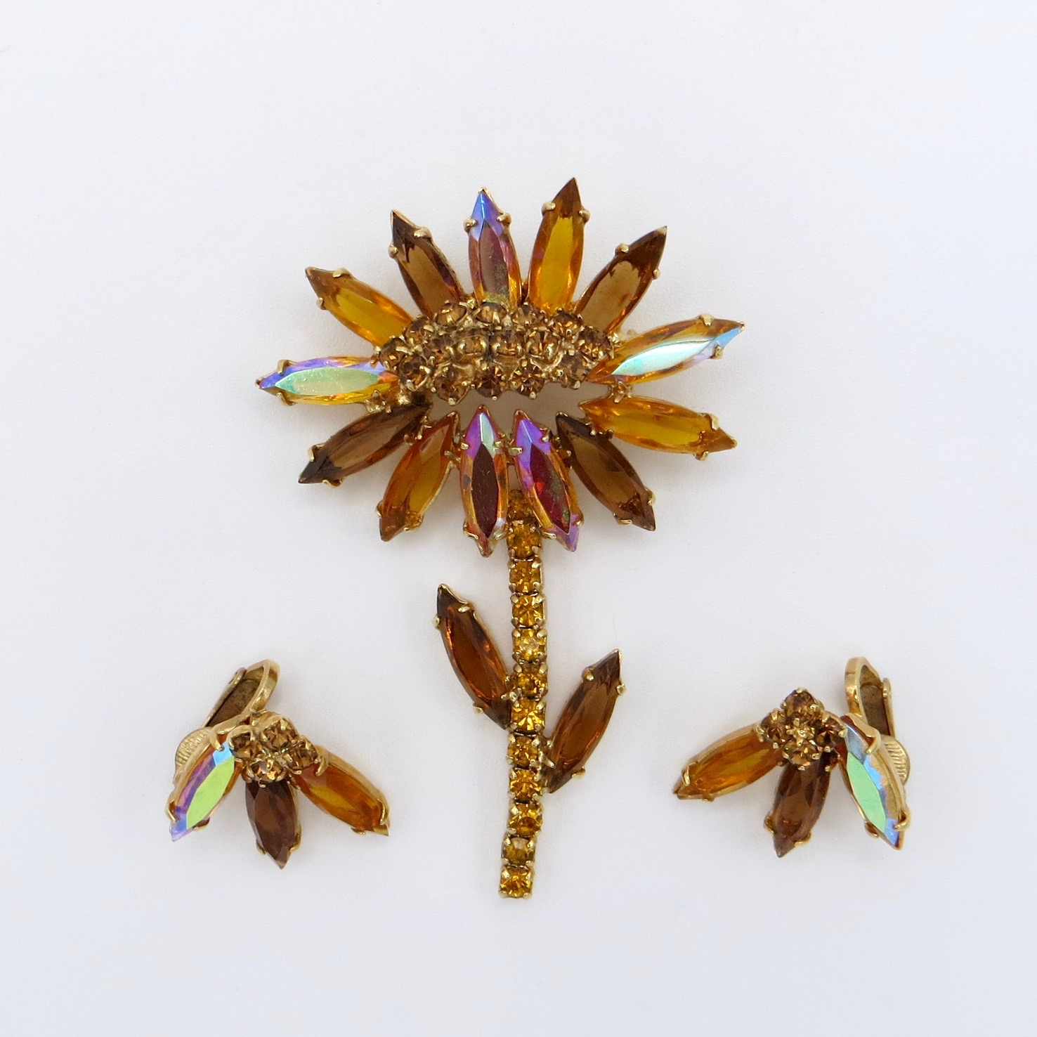 Sunflower Brooch & Clip-On Earrings
