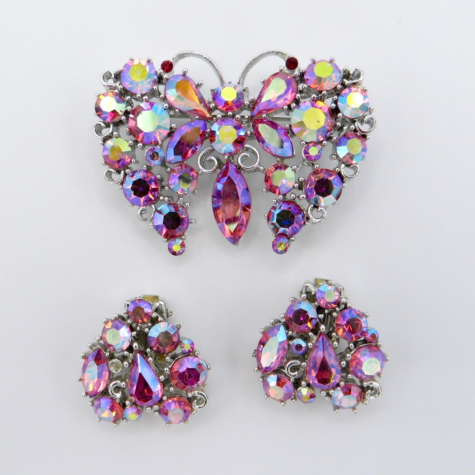 Lisner Butterfly Brooch & Clip-On Earrings