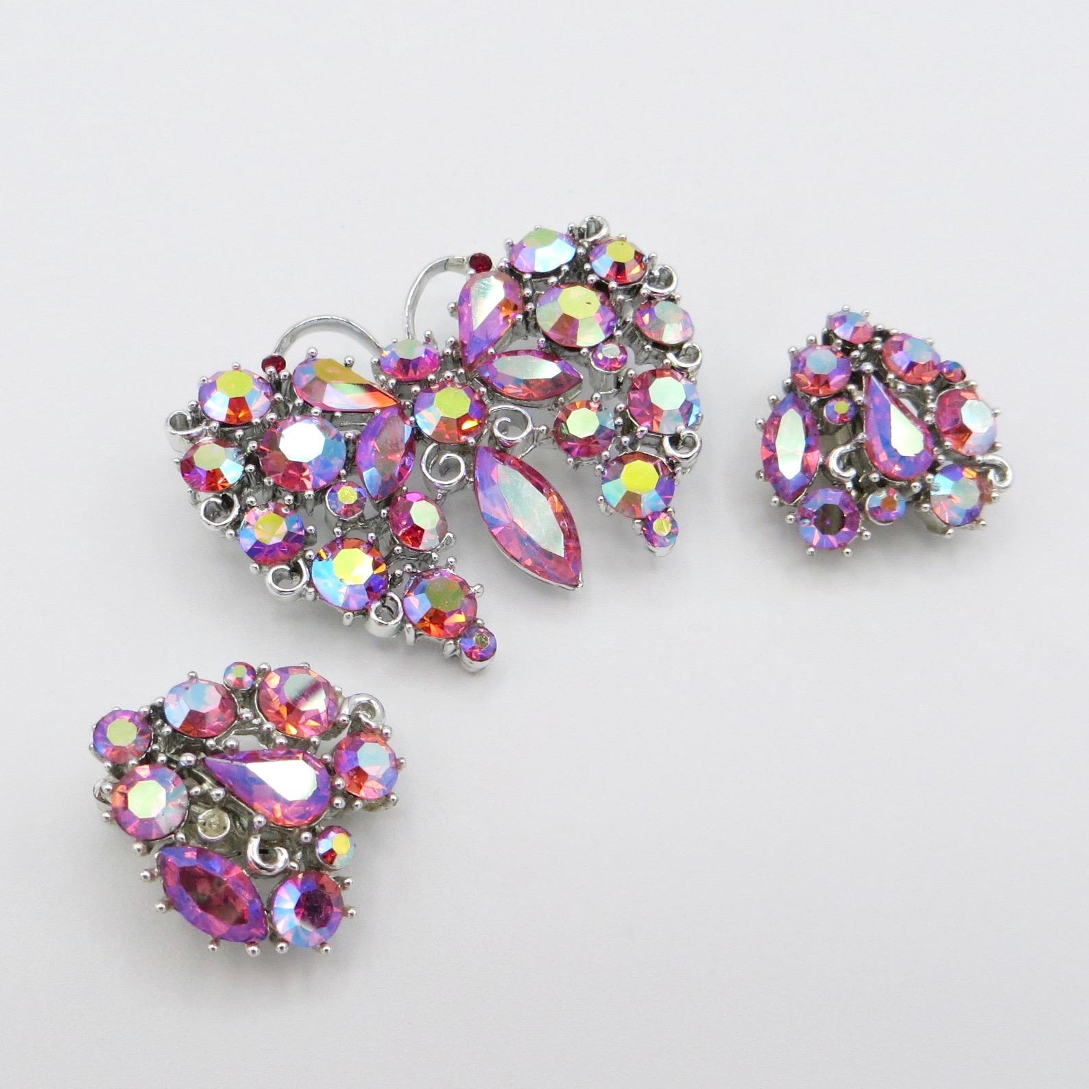 Lisner Butterfly Brooch & Clip-On Earrings