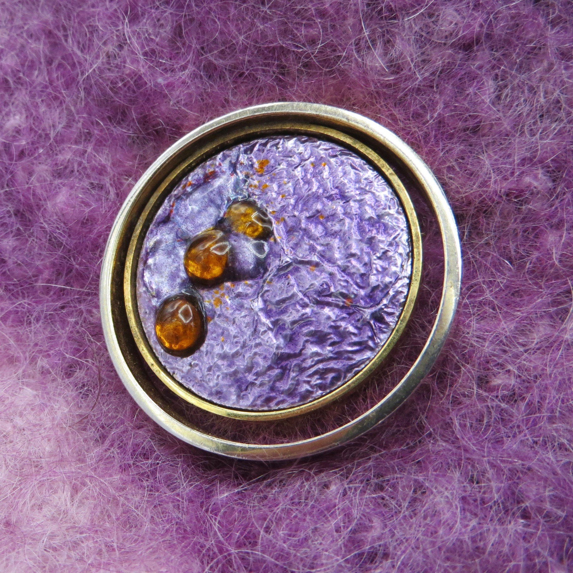 Purple & Orange Enamel Brooch