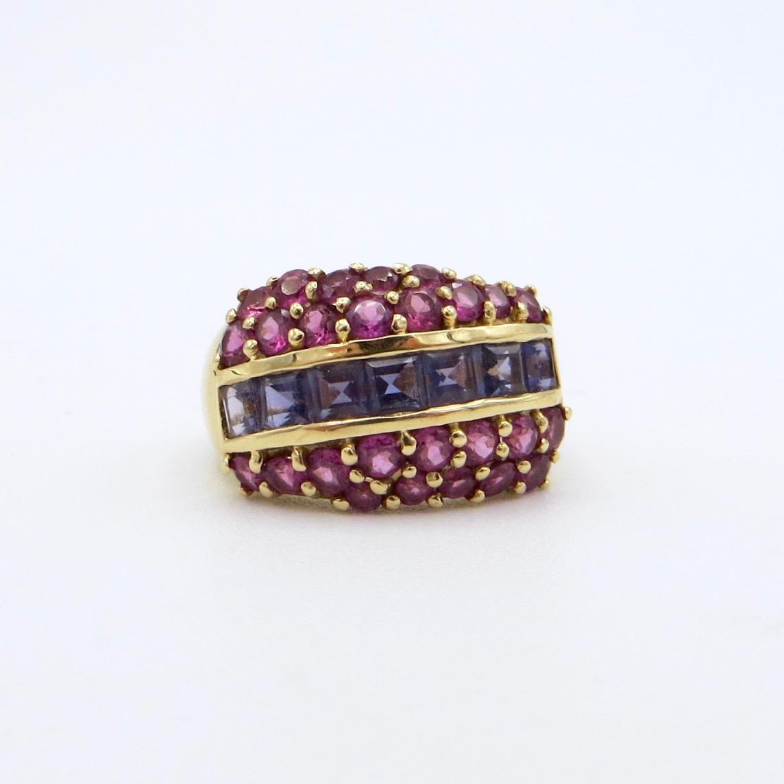Iolite & Garnet Ring