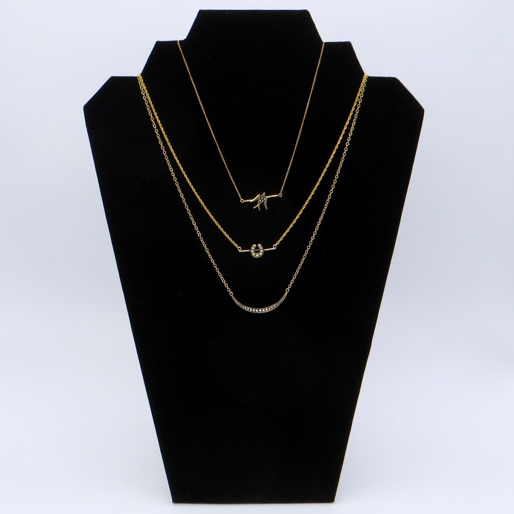 10kt Gold & Pearl Horseshoe Necklace (GF Chain)