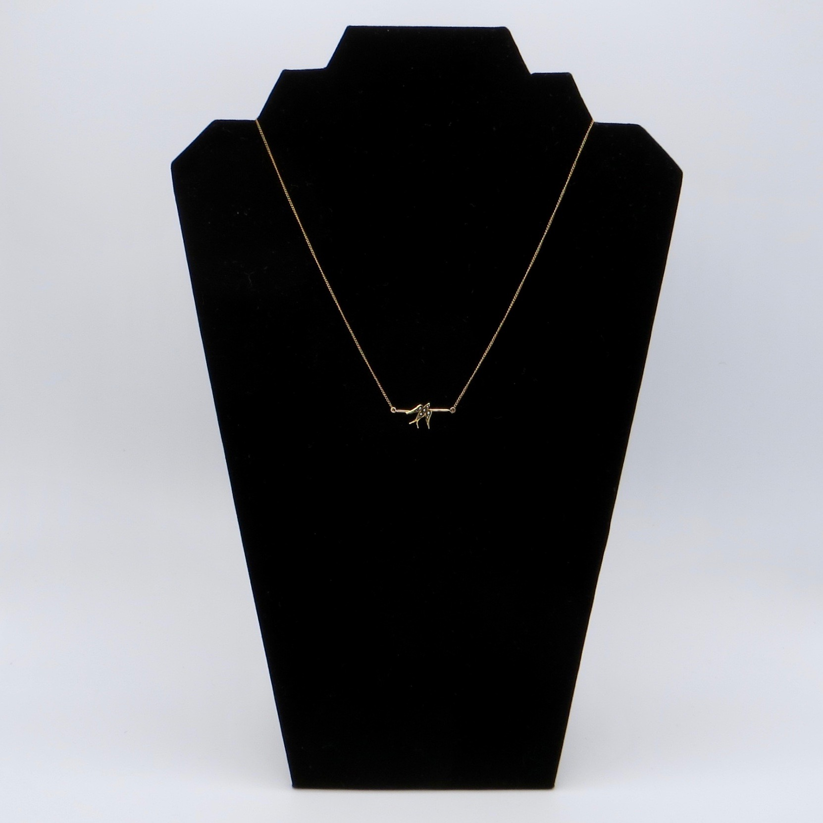 14kt Gold & Pearl Bird Necklace (GF Chain)