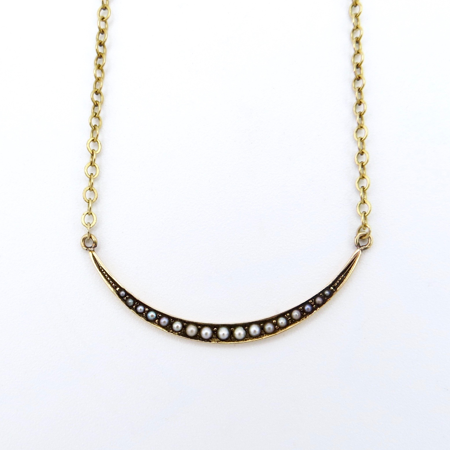 14kt Gold & Pearl Crescent Moon Layering Necklace (GF Chain)