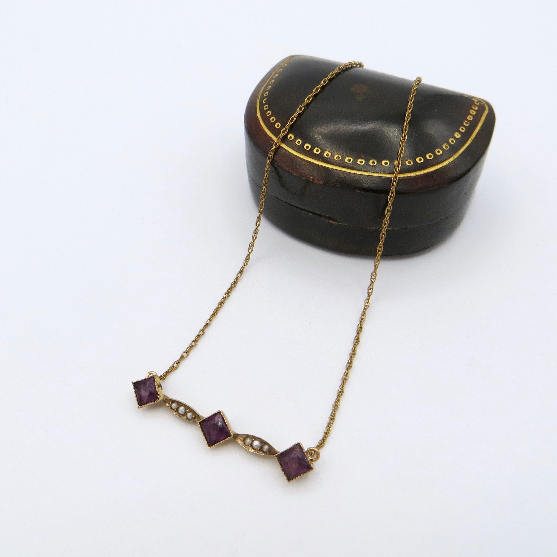 9kt Pearl & Amethyst Necklace (GF Chain)