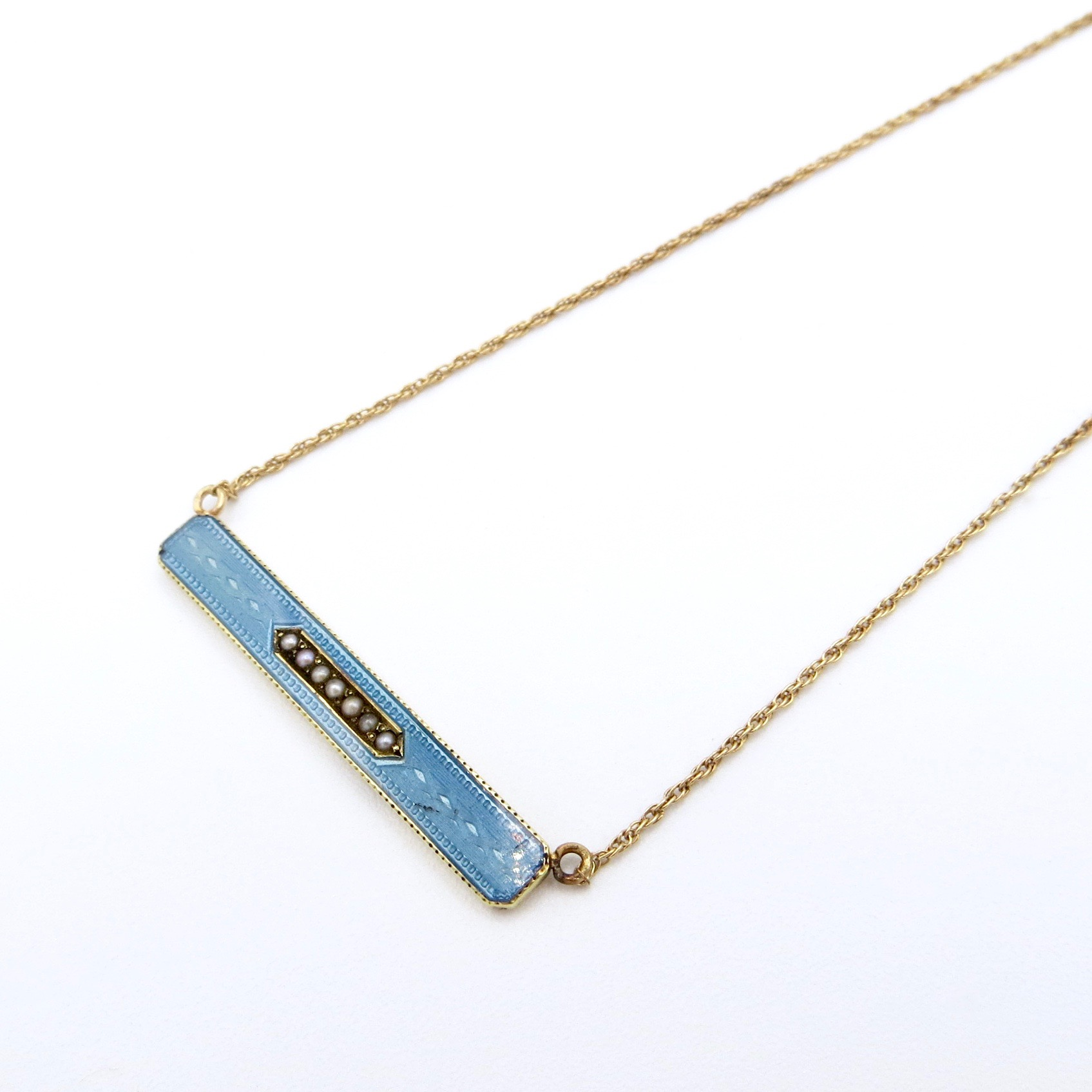 14kt Gold & Blue Enamel Necklace (10kt Chain)