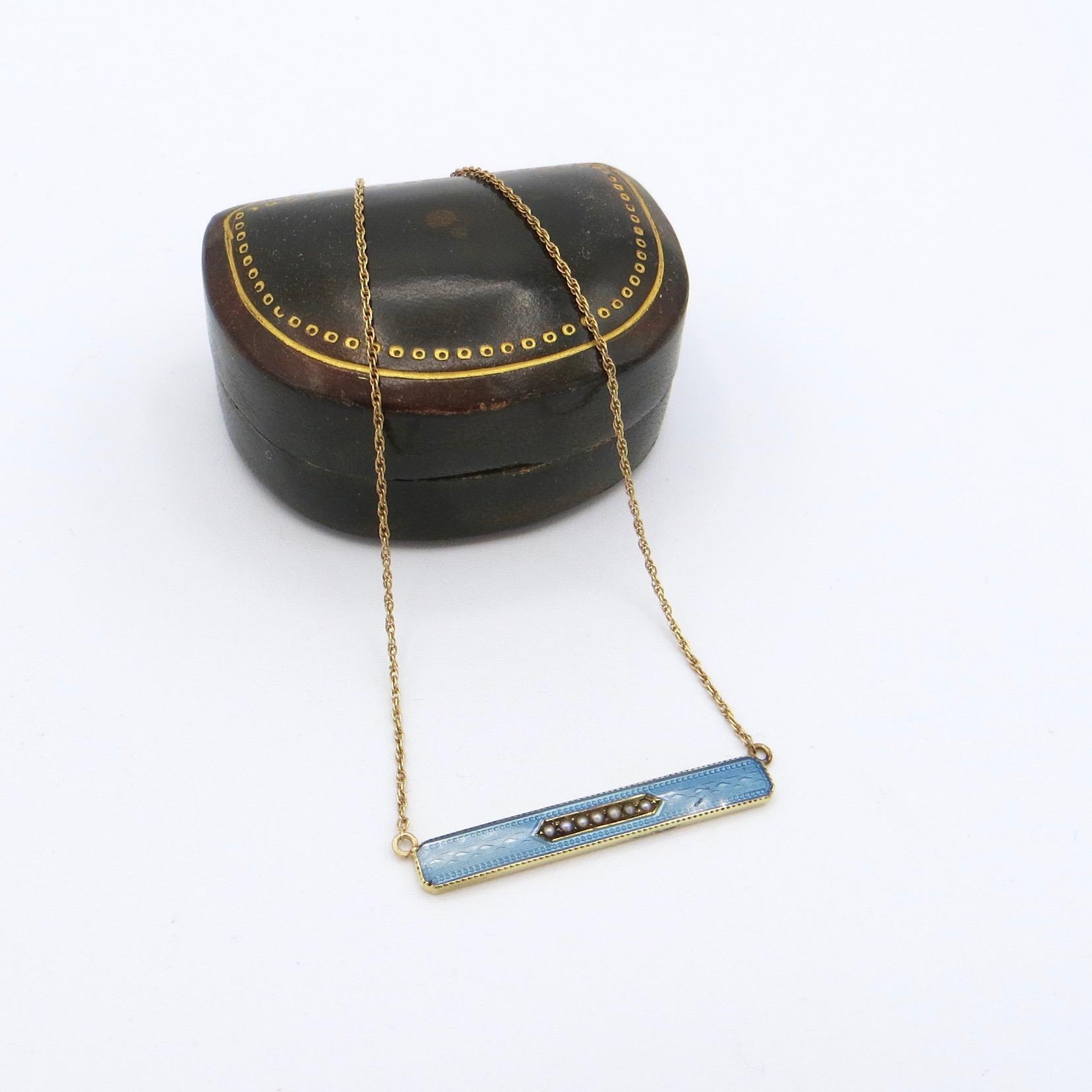 14kt Gold & Blue Enamel Necklace (10kt Chain)