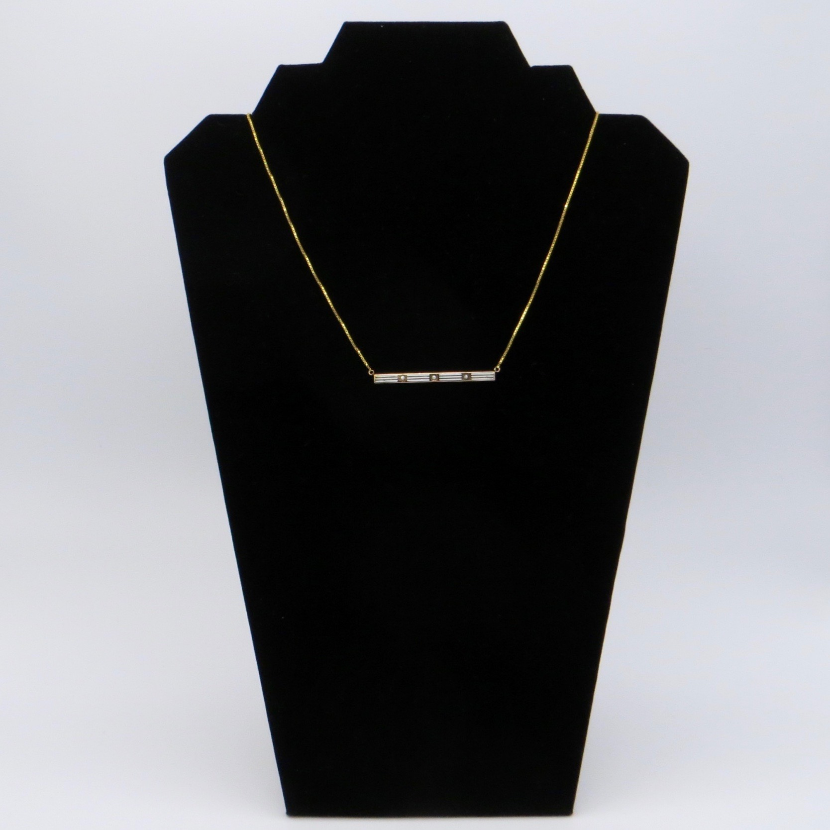 14kt Gold & White Striped Enamel Necklace (GF Chain)