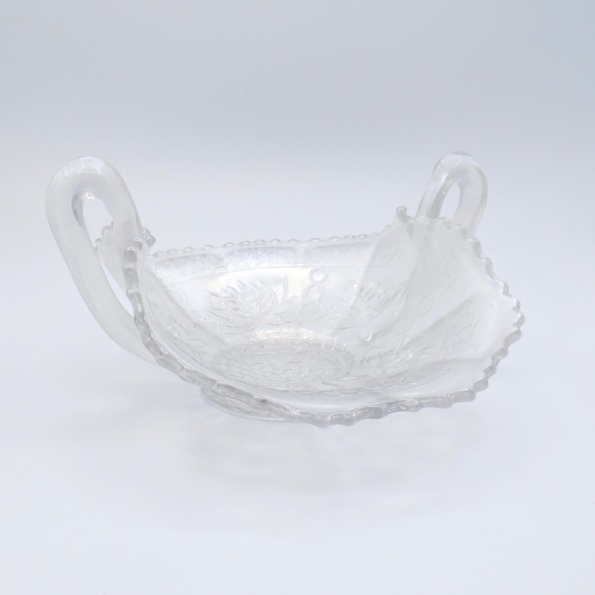 Rare White Carnival Glass Dish