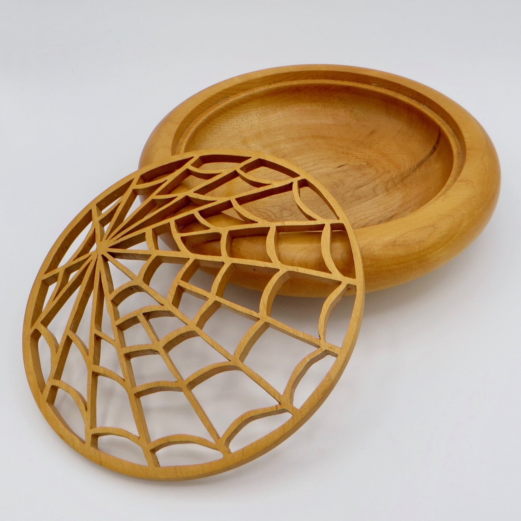 Spiderweb Pattern Wooden Bowl