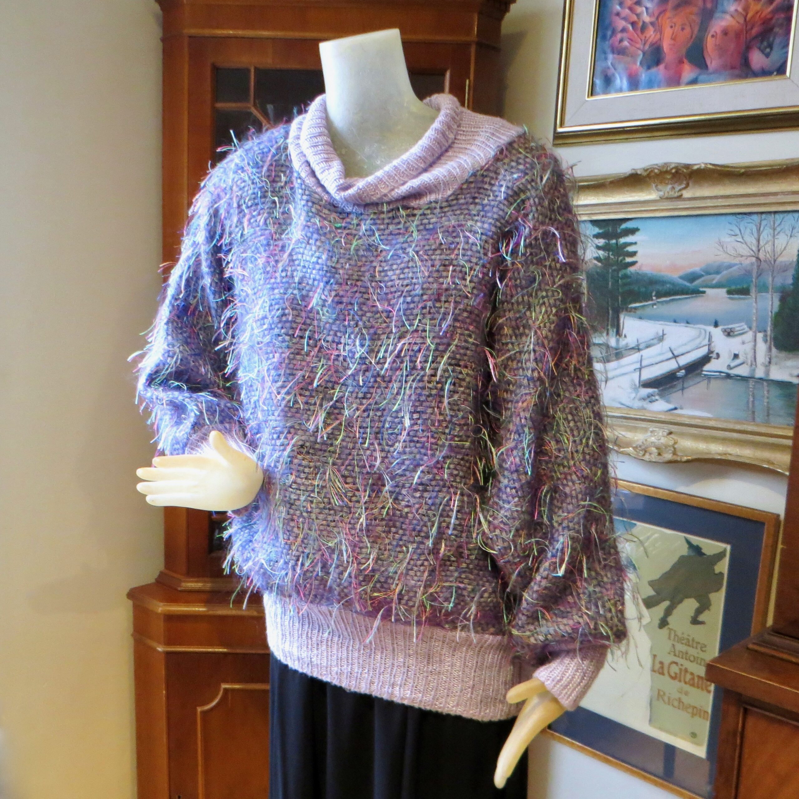 Mauve & Neon Thread Sweater