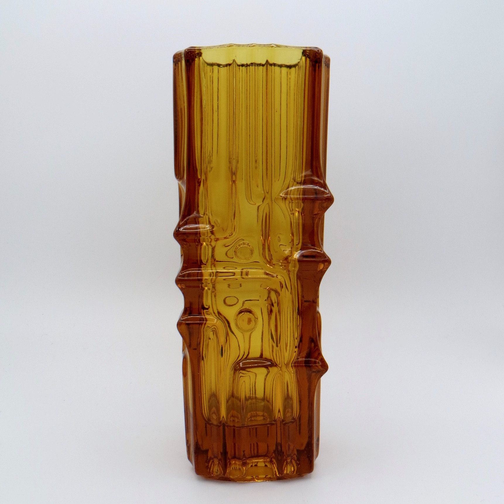 1970s Orange Glass Vase