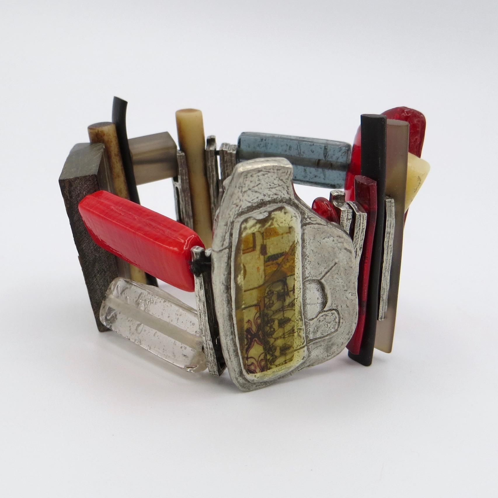 Anne-Marie Chagnon Pewter, Glass & Acrylic Bracelet