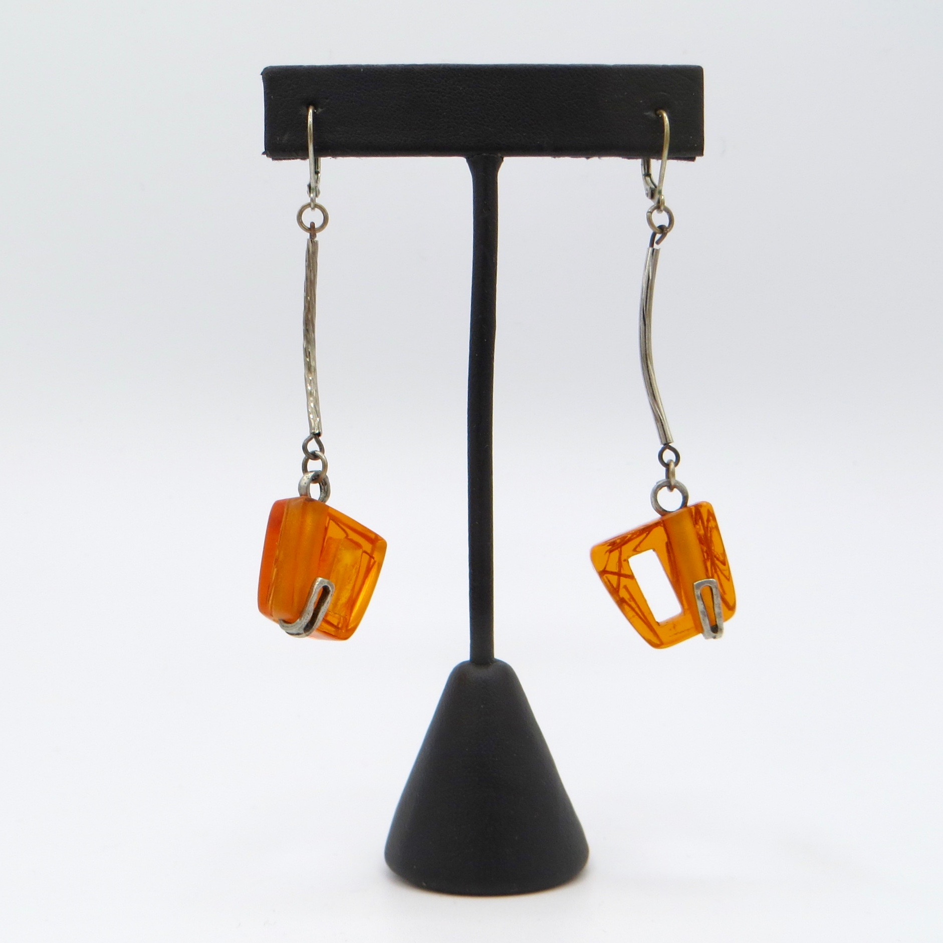 Anne-Marie Chagnon Pewter & Acrylic Earrings