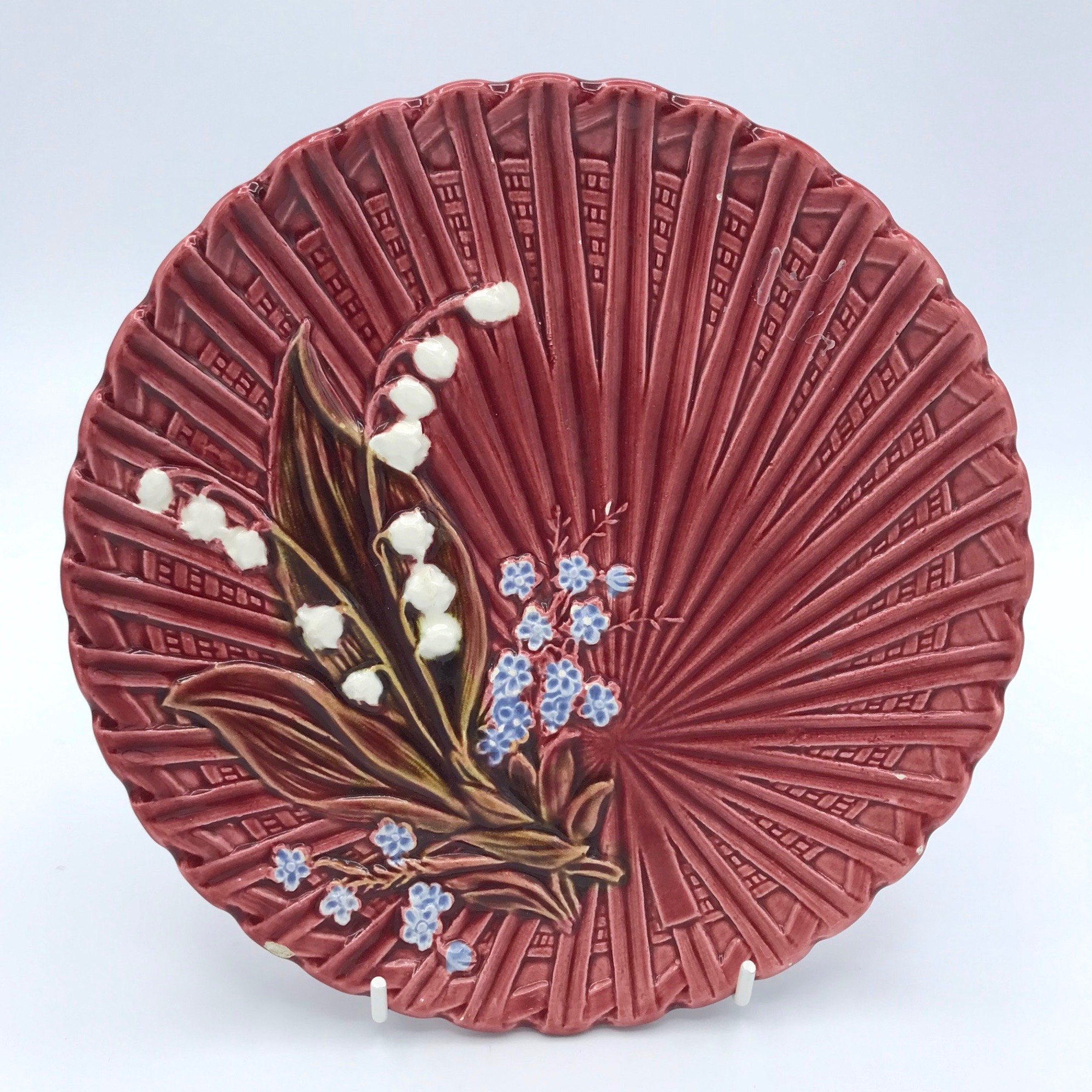 Lily of the Valley Majolica Plate