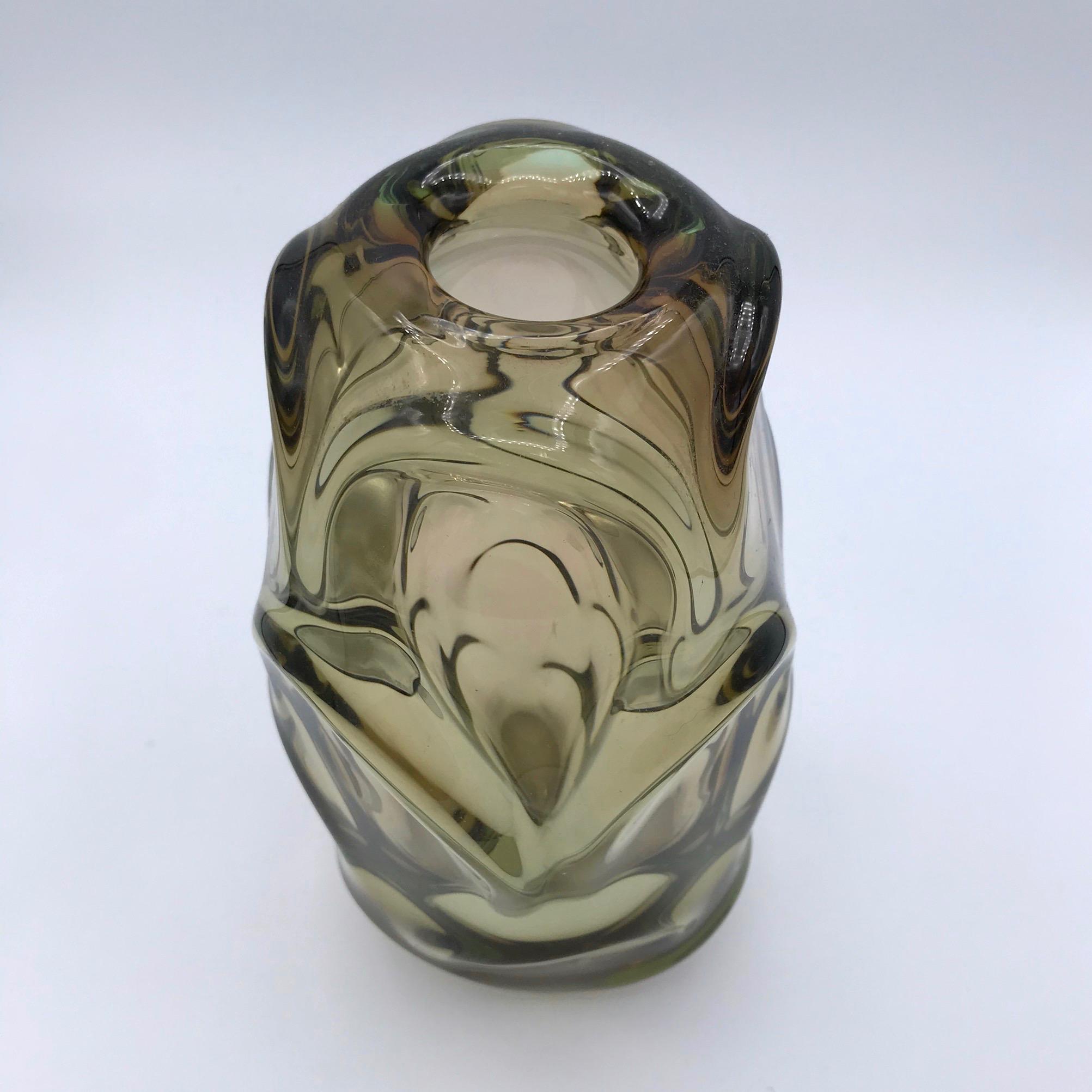 1970s Smoky Glass Vase