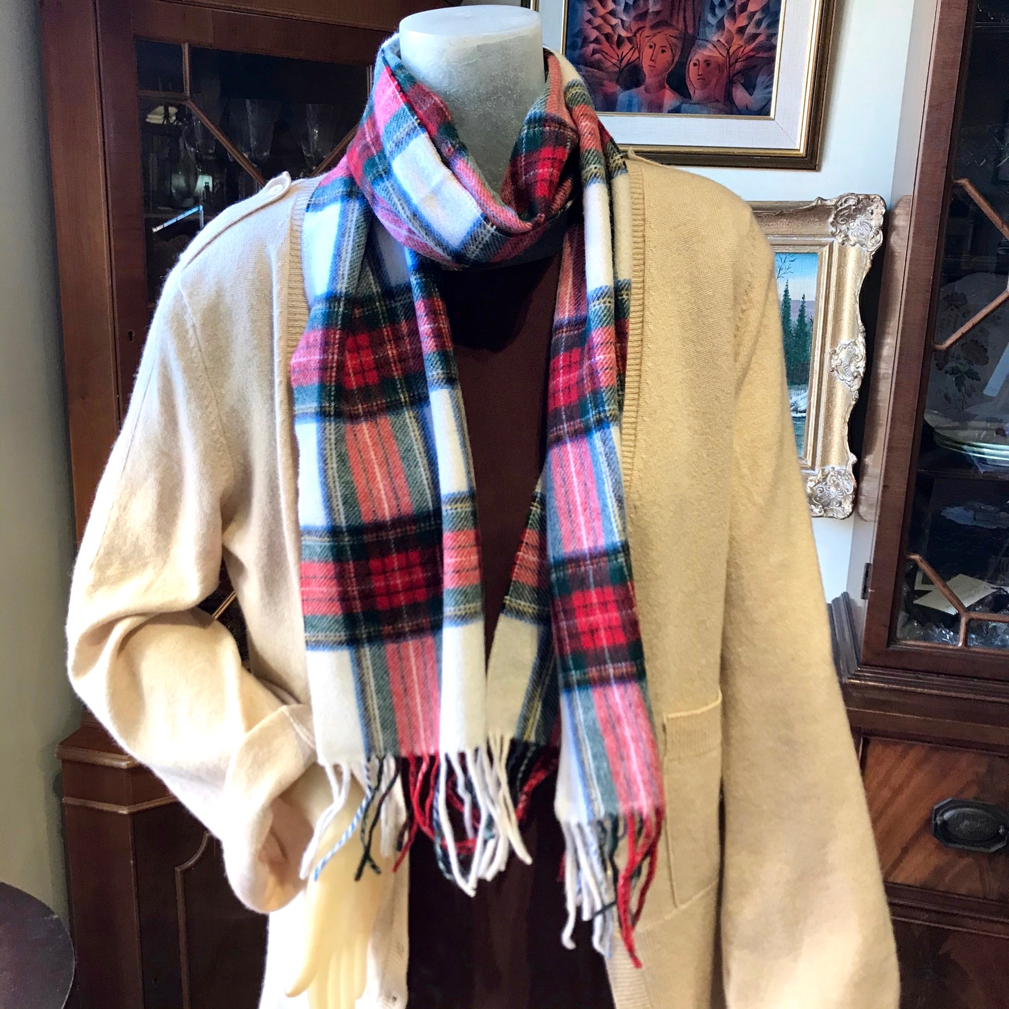 White & Red Wool Scarf